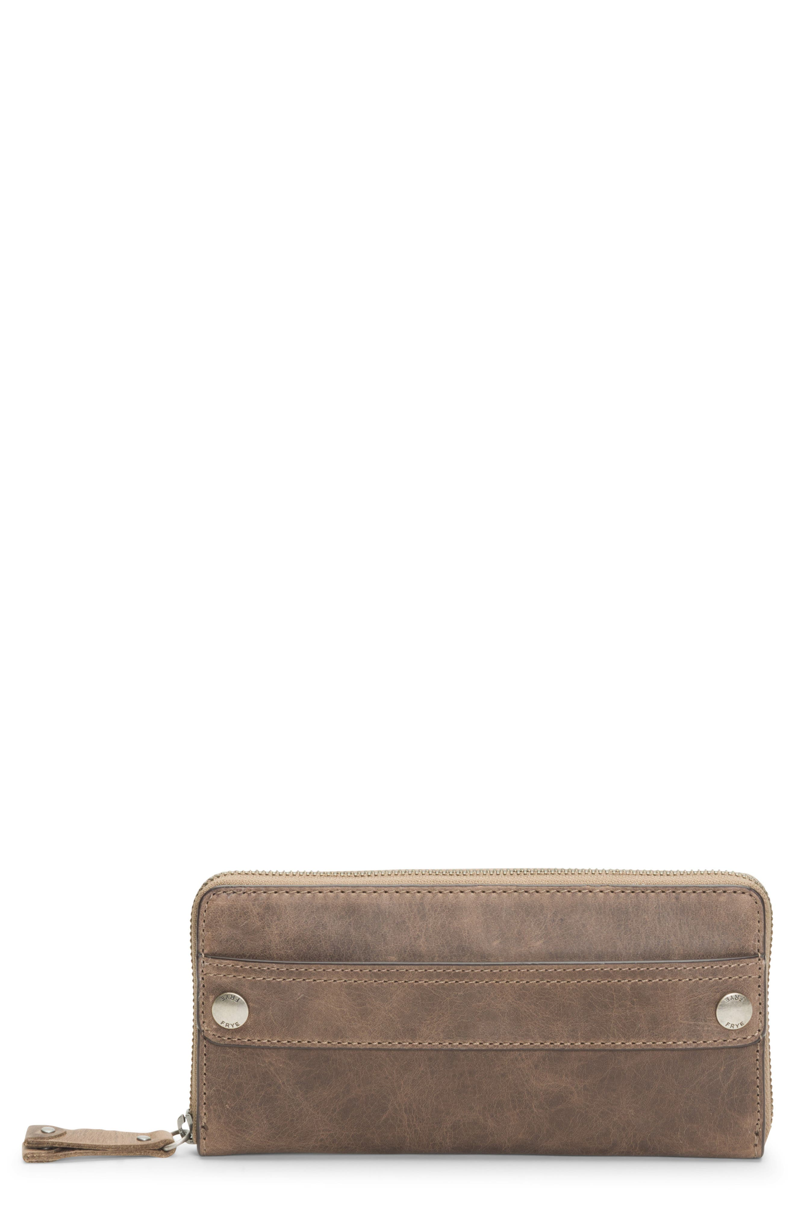Melissa 2 Leather Zip Wallet,                             Main thumbnail 1, color,                             GREY