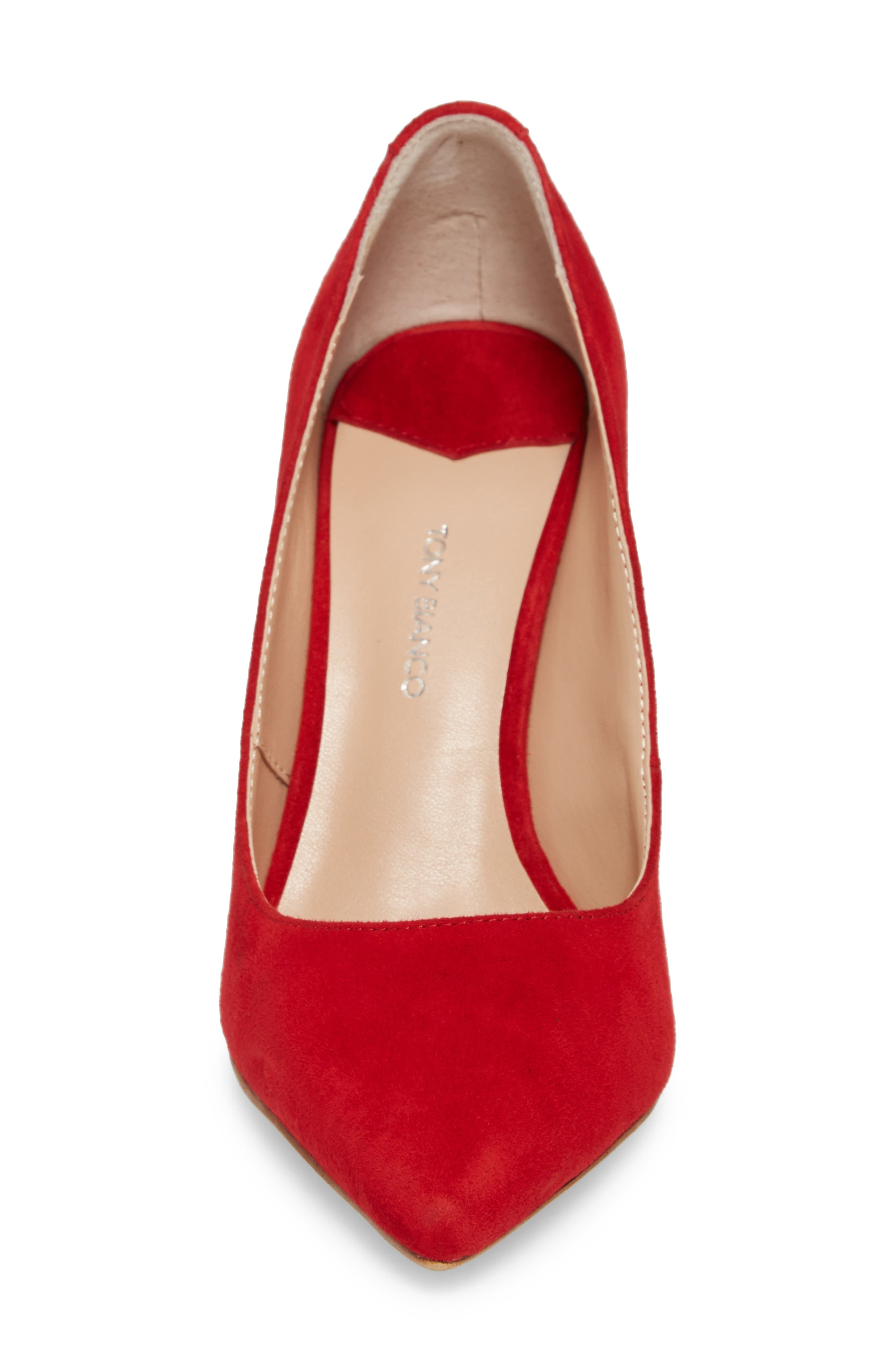 Lotus Pointy Toe Pump,                             Alternate thumbnail 4, color,                             FIRE SUEDE