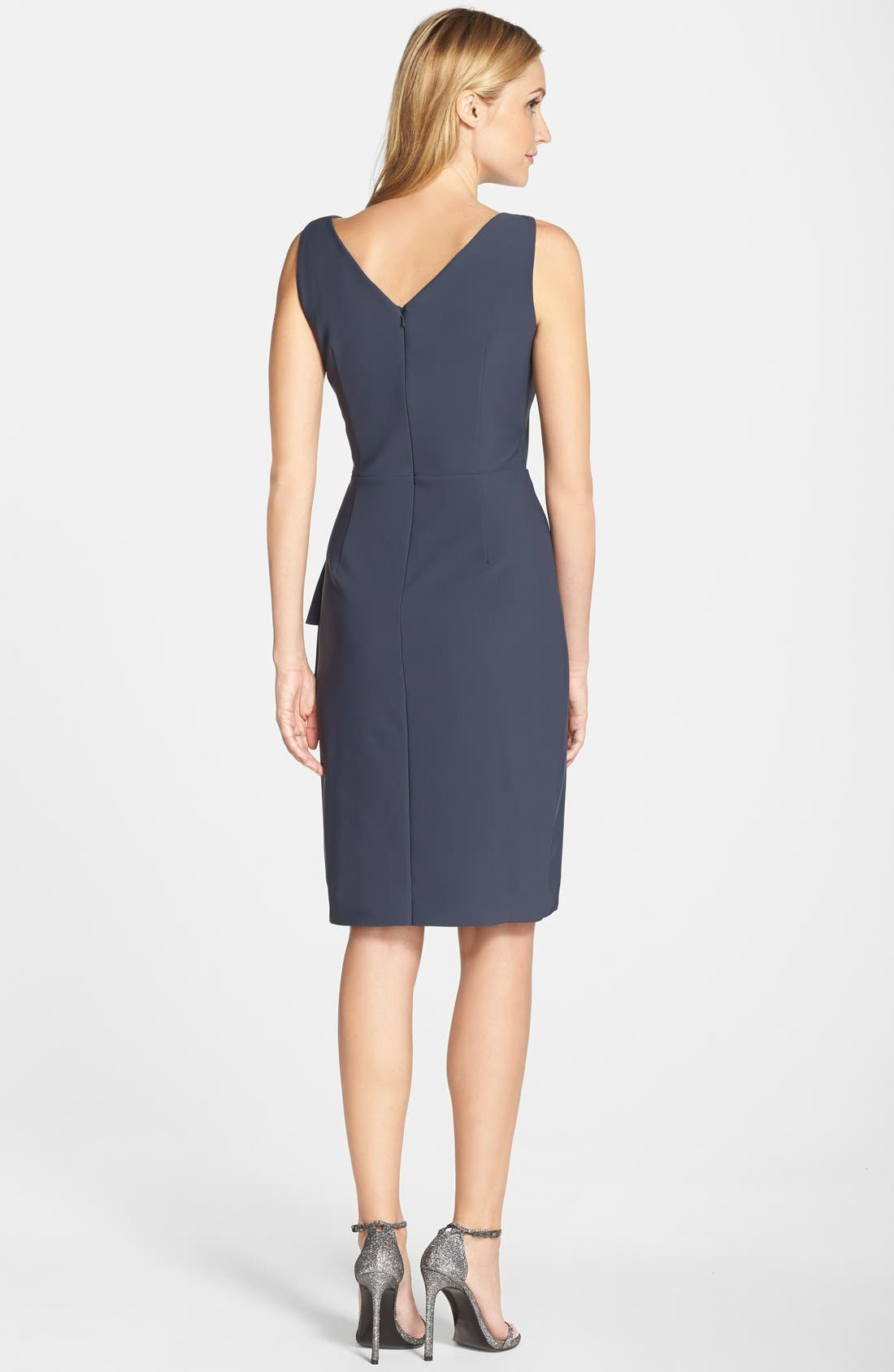 Side Ruched Dress,                             Alternate thumbnail 3, color,                             CHARCOAL