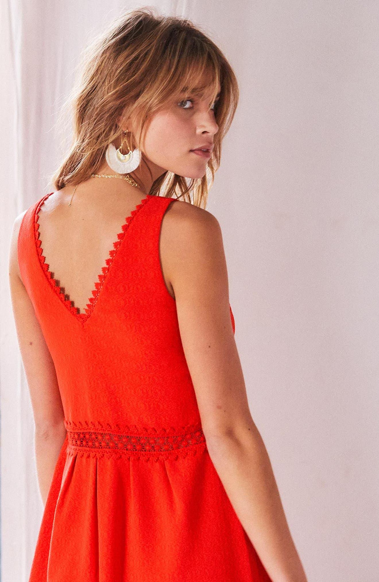 Daniela Lace Trim A-Line Dress,                             Alternate thumbnail 7, color,