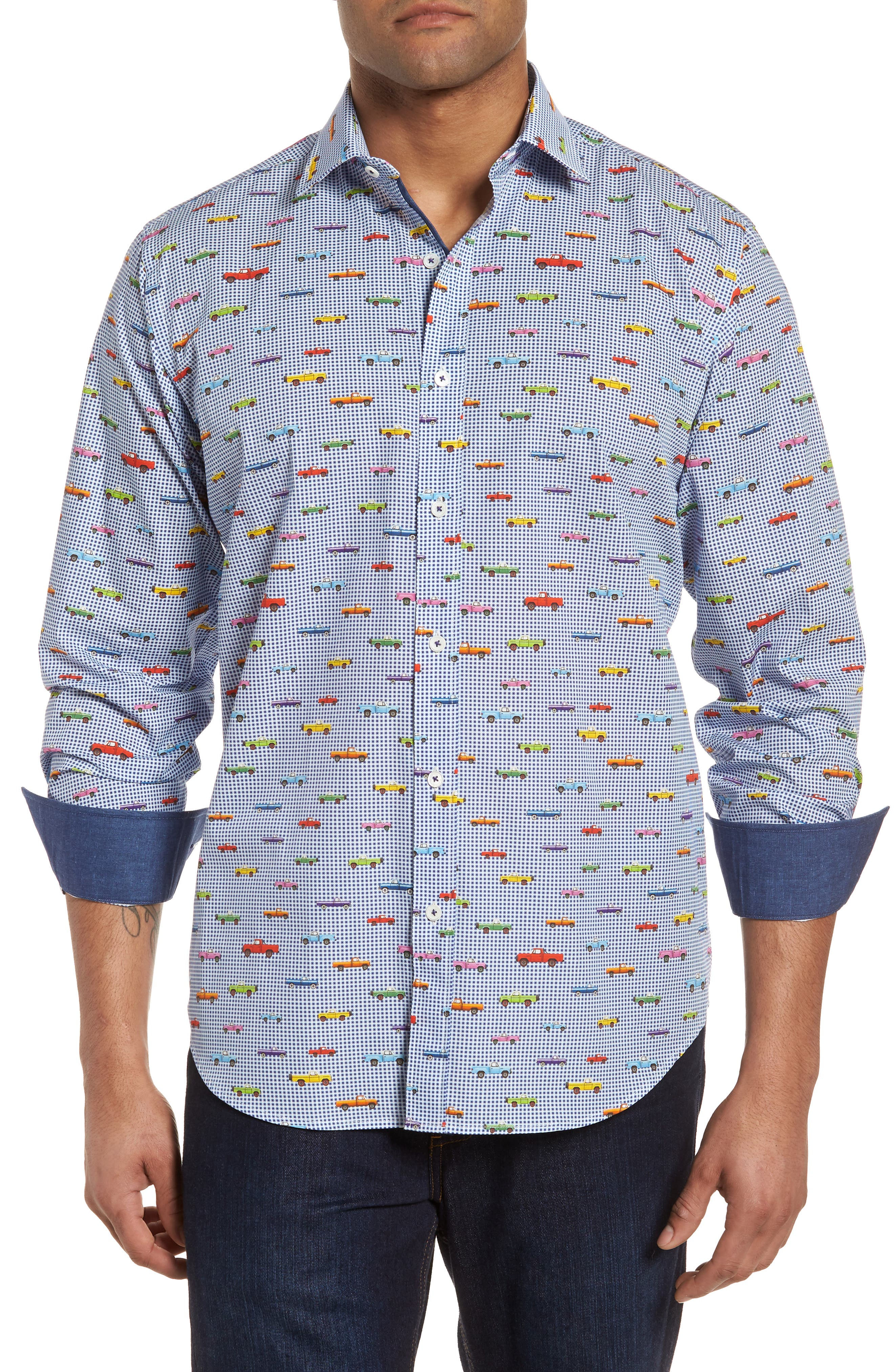 Classic Fit Pickup Truck Sport Shirt,                         Main,                         color, ORCHID