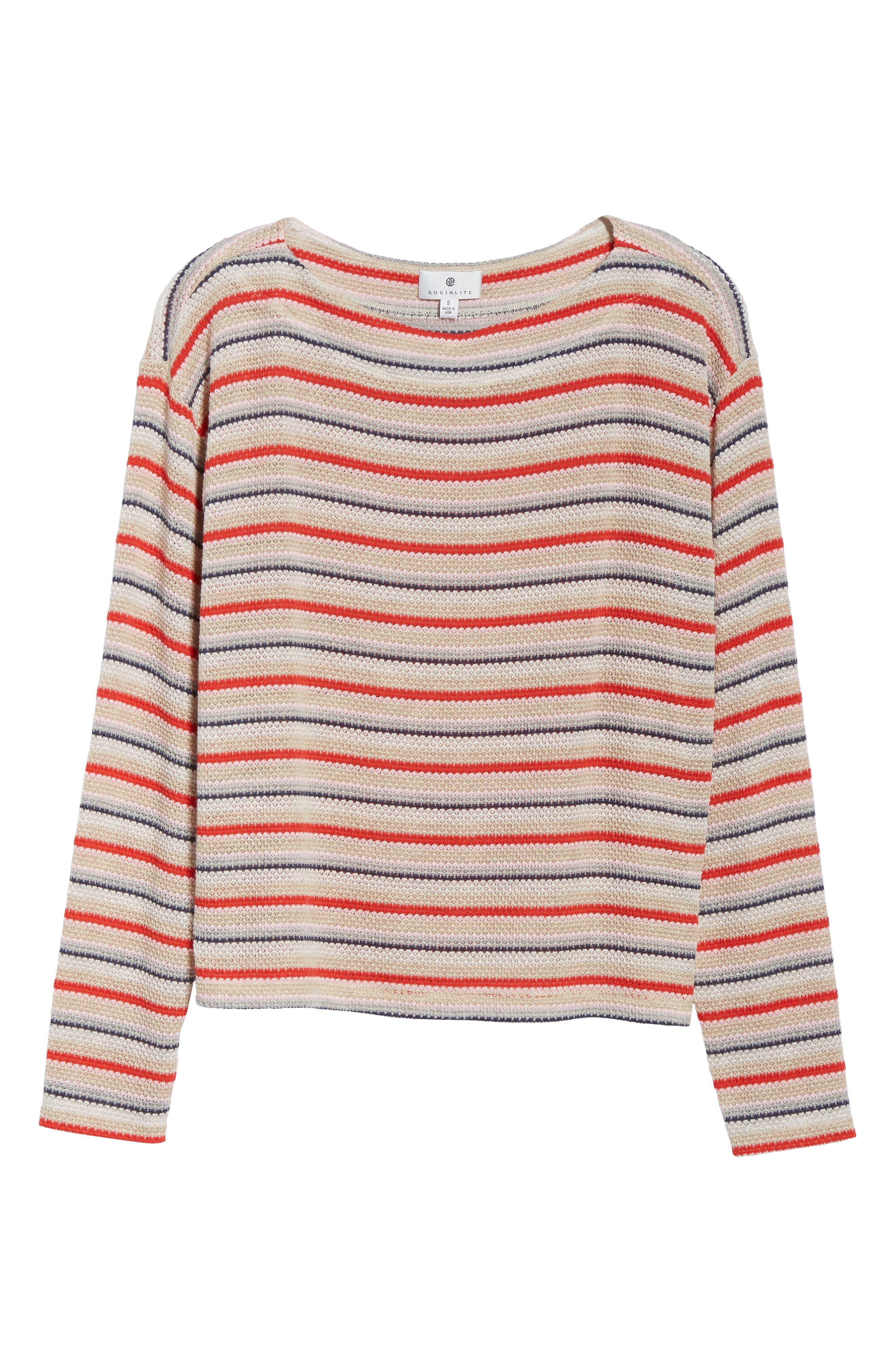 Stripe Knit Tee,                             Alternate thumbnail 6, color,                             RAINBOW