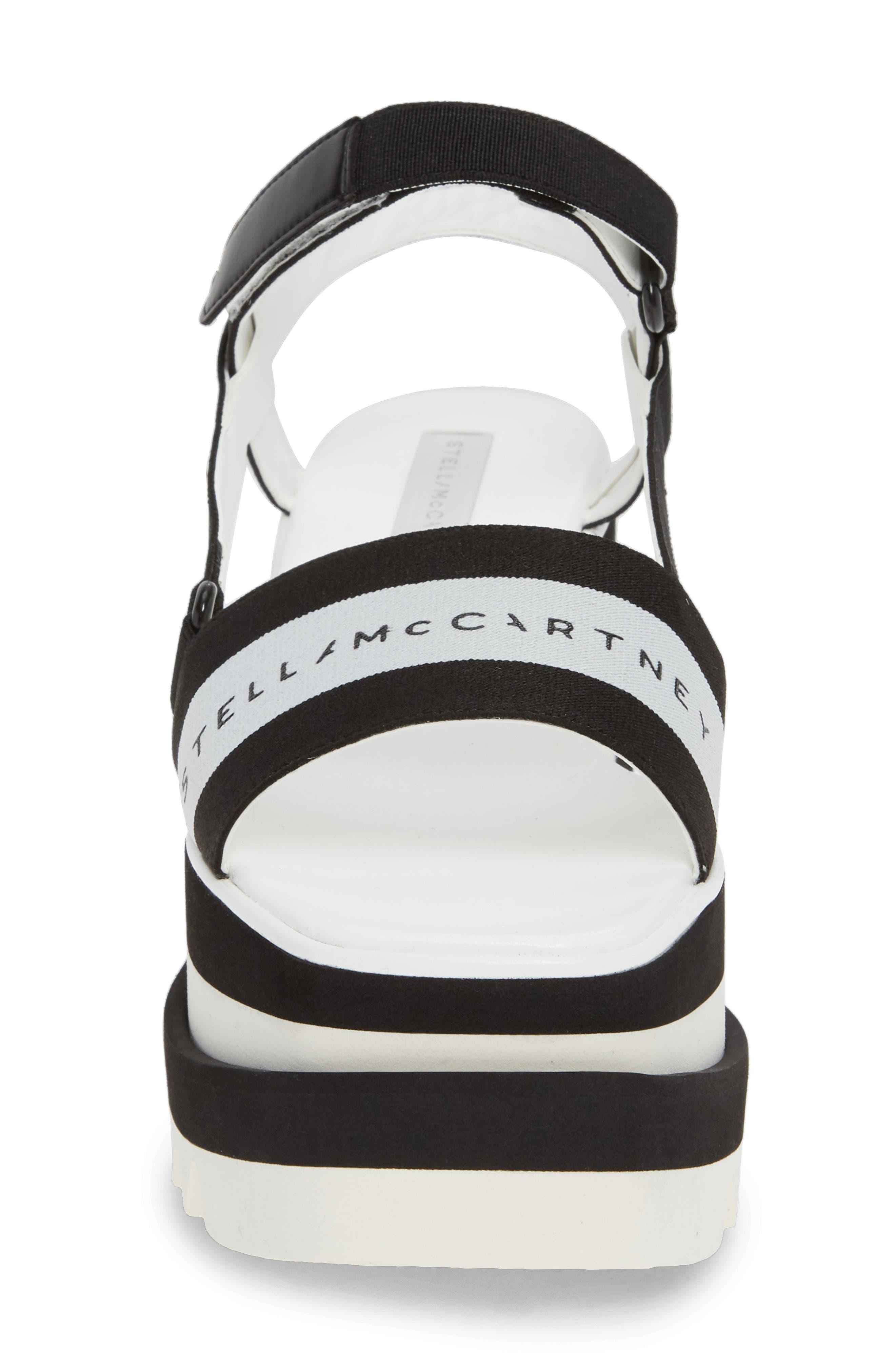 Stripe Logo Platform Sandal,                             Alternate thumbnail 4, color,                             BLACK/ WHITE