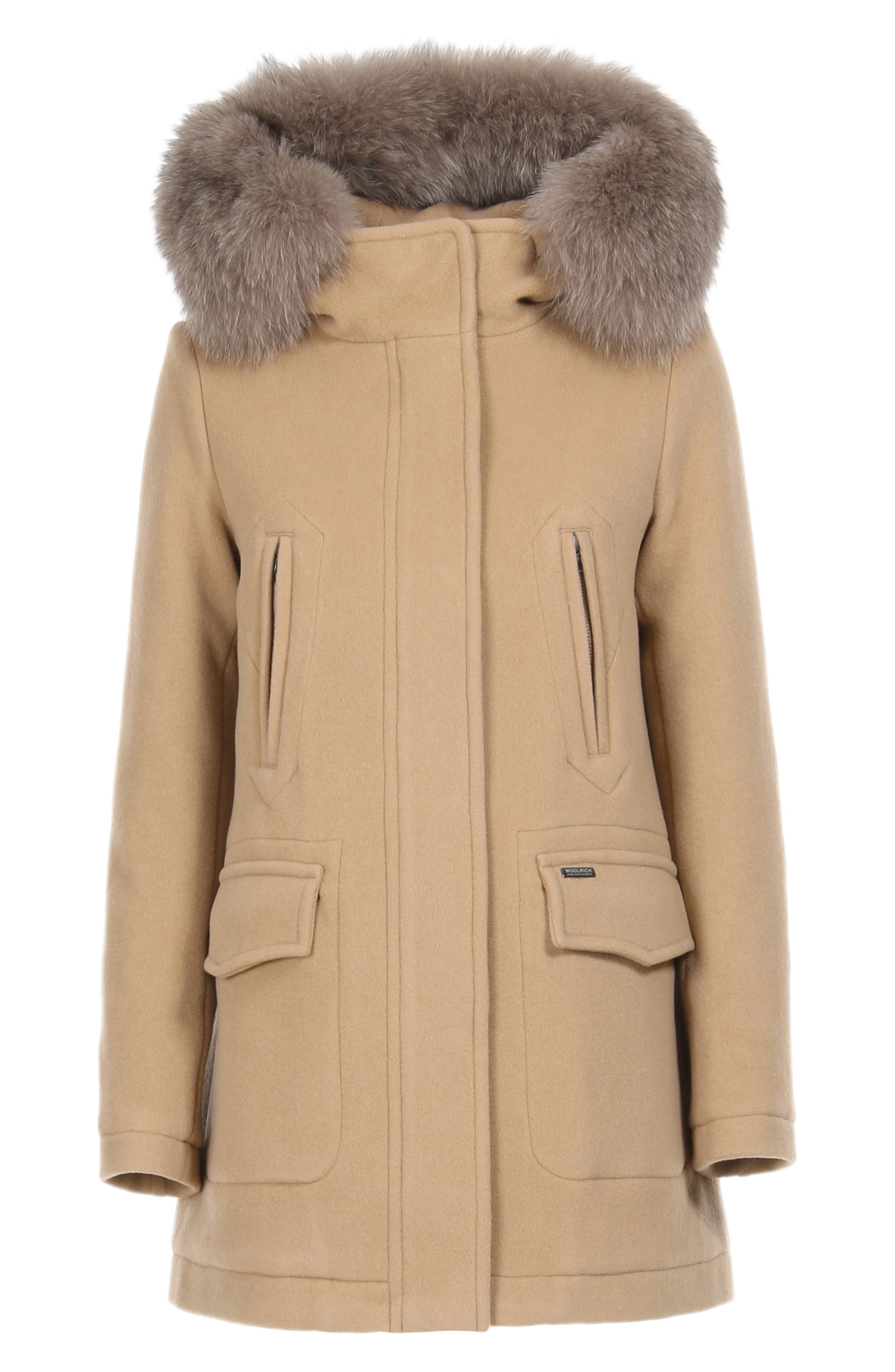 McKenzie Coat with Genuine Fox Fur Trim,                             Alternate thumbnail 4, color,                             CAMEL