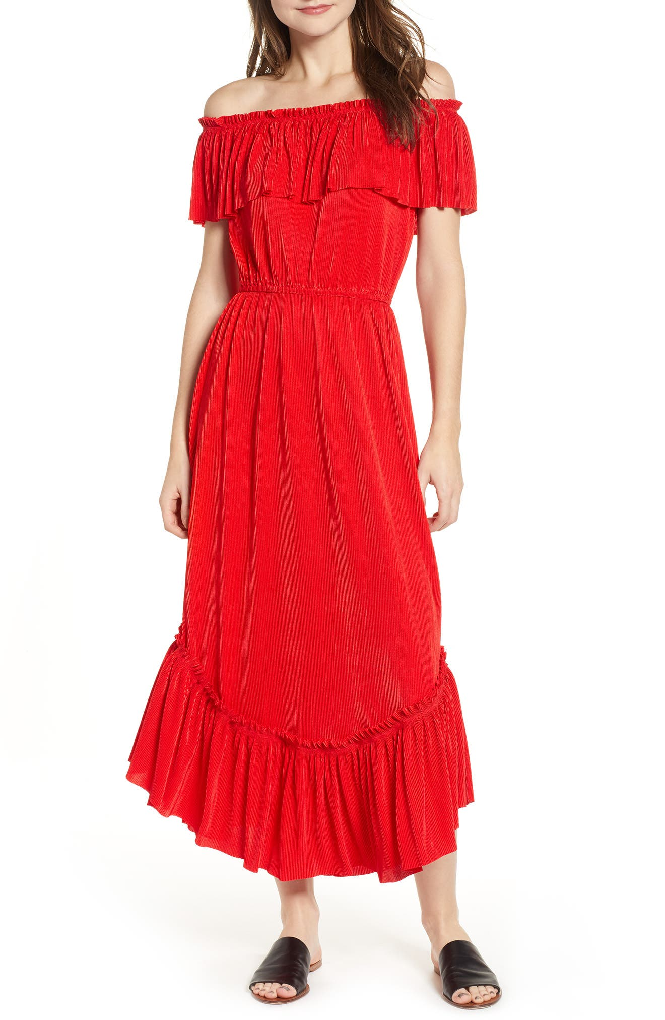 The Fifth Label Relatively Slinky Off The Shoulder Maxi Dress, Red