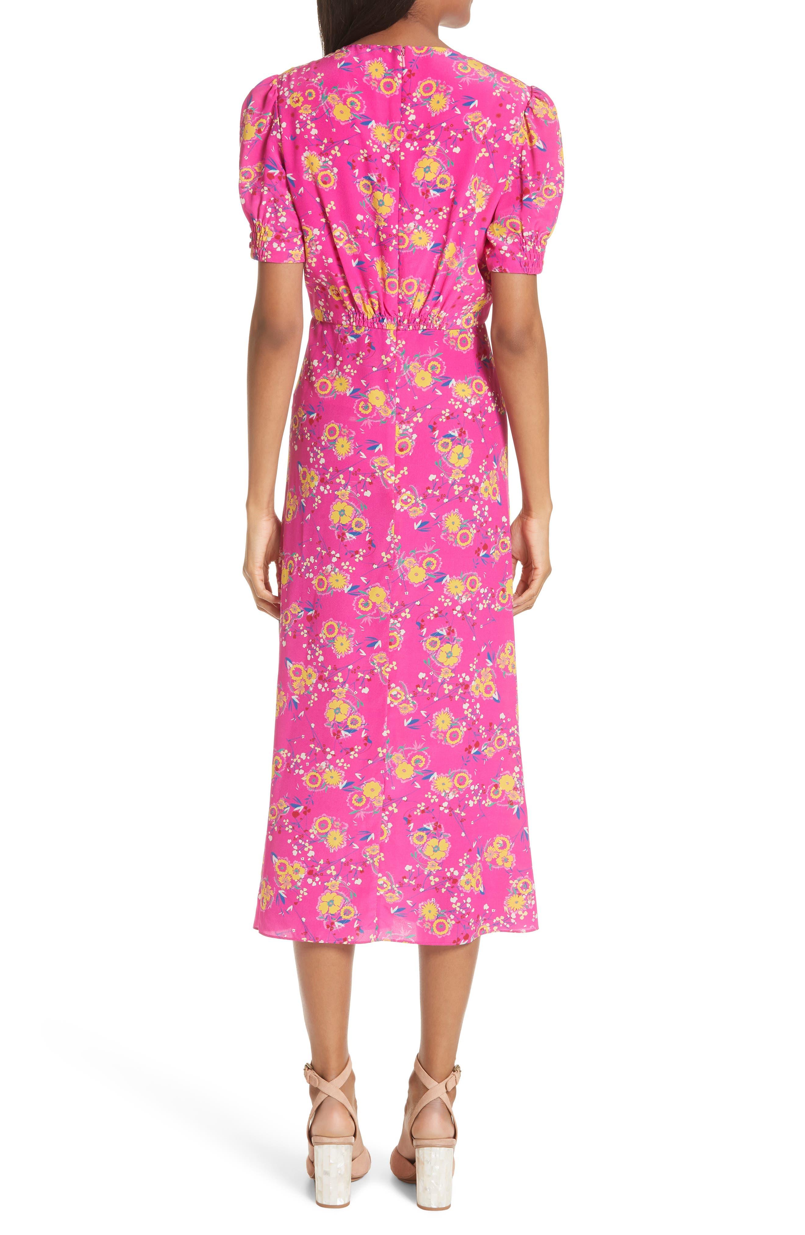 Lea Silk Midi Dress,                             Alternate thumbnail 2, color,                             SHOCKING PINK PIMPEMELL