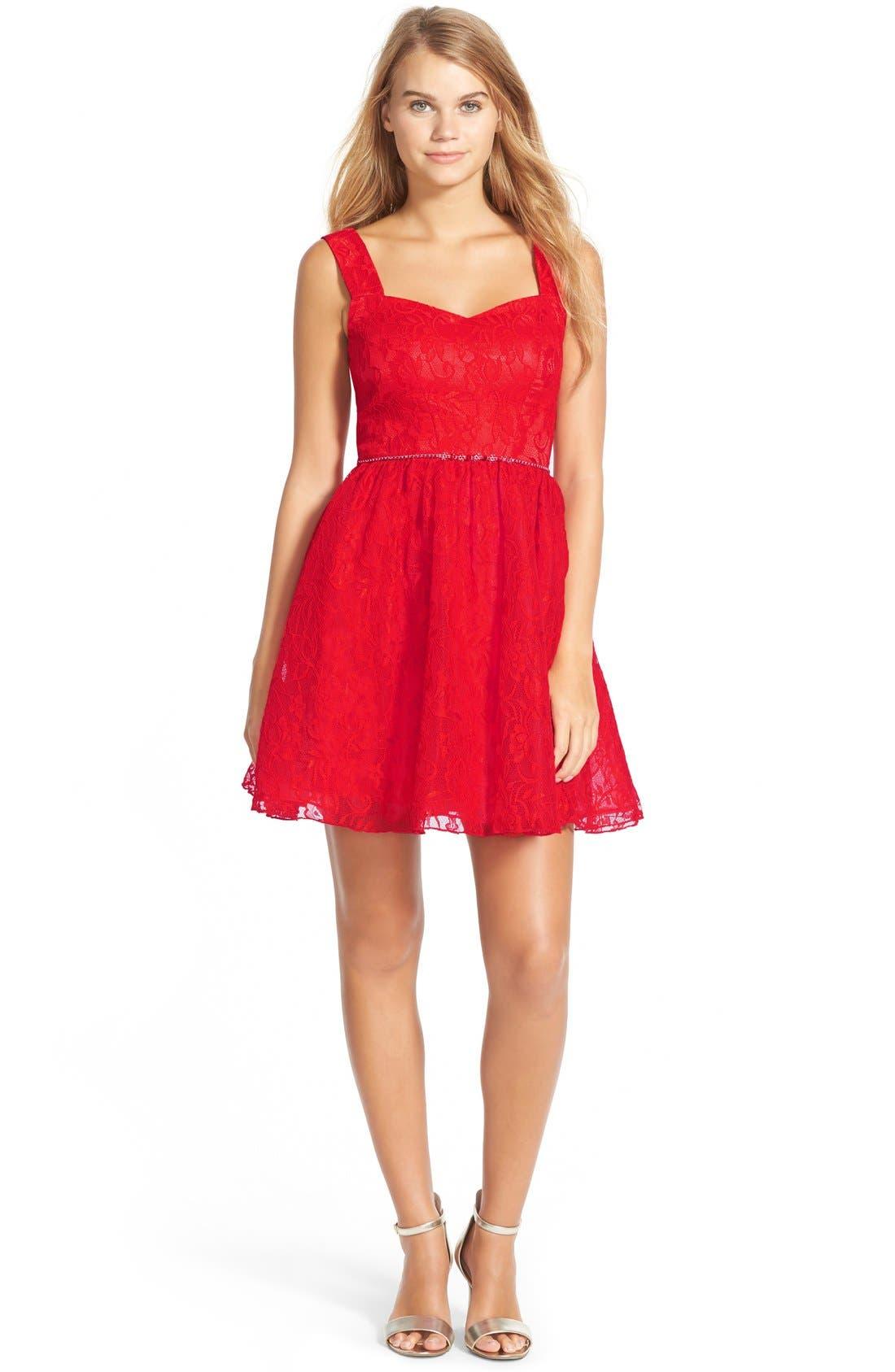 Lace Skater Dress,                             Main thumbnail 1, color,                             600