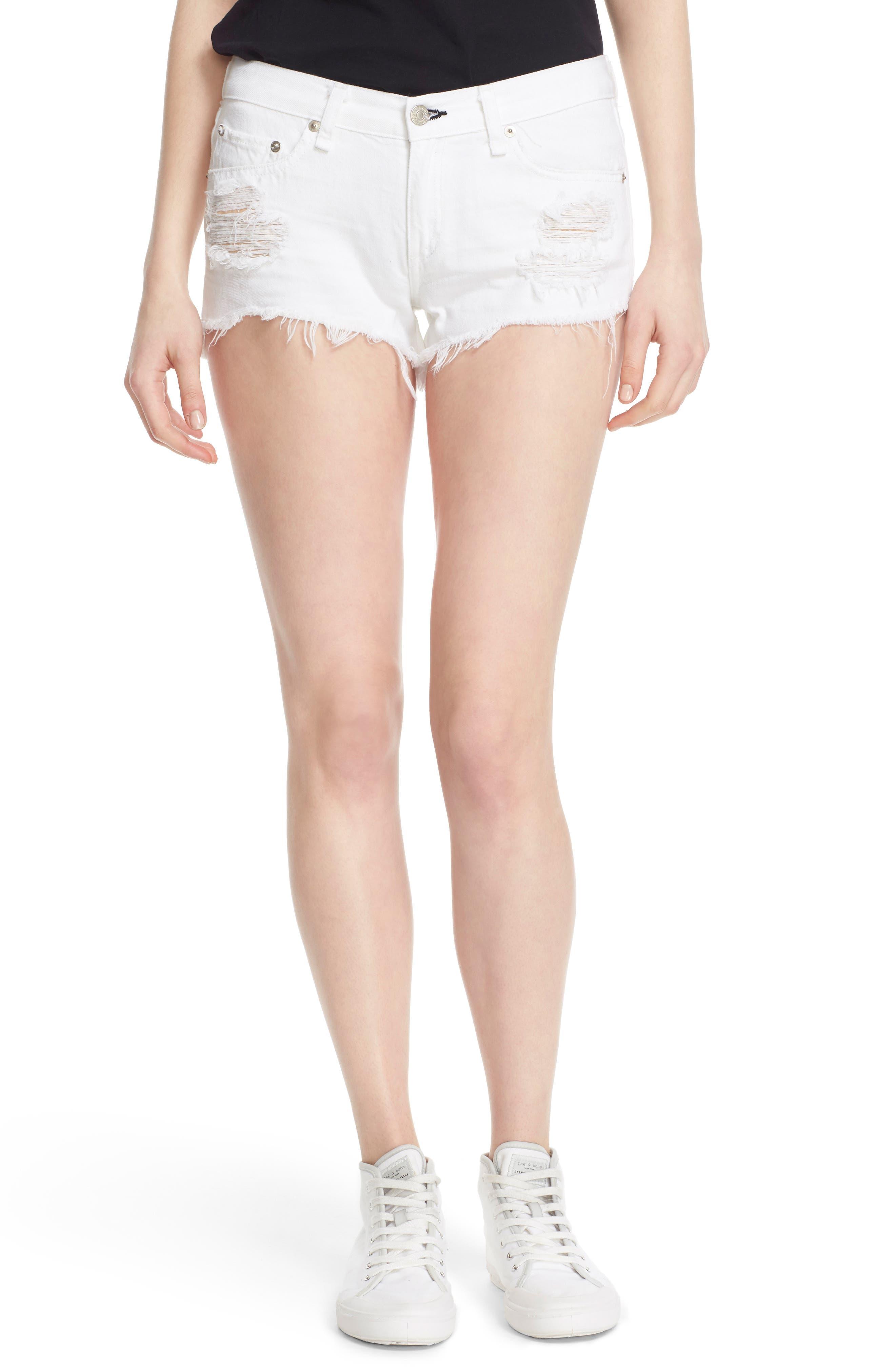 Ripped Cutoff Denim Shorts,                             Alternate thumbnail 6, color,