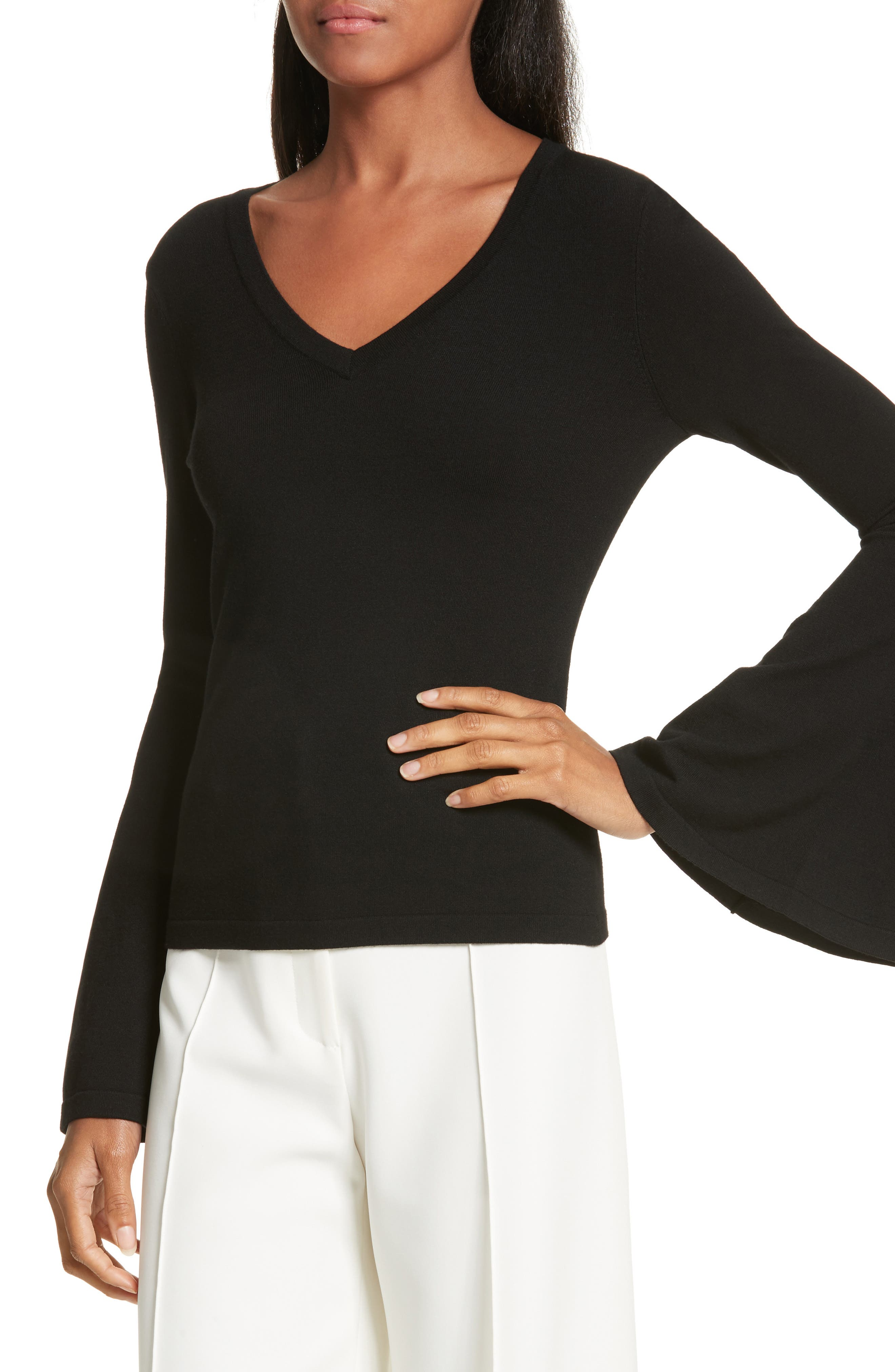 Bell Sleeve V-Neck Sweater,                             Alternate thumbnail 13, color,