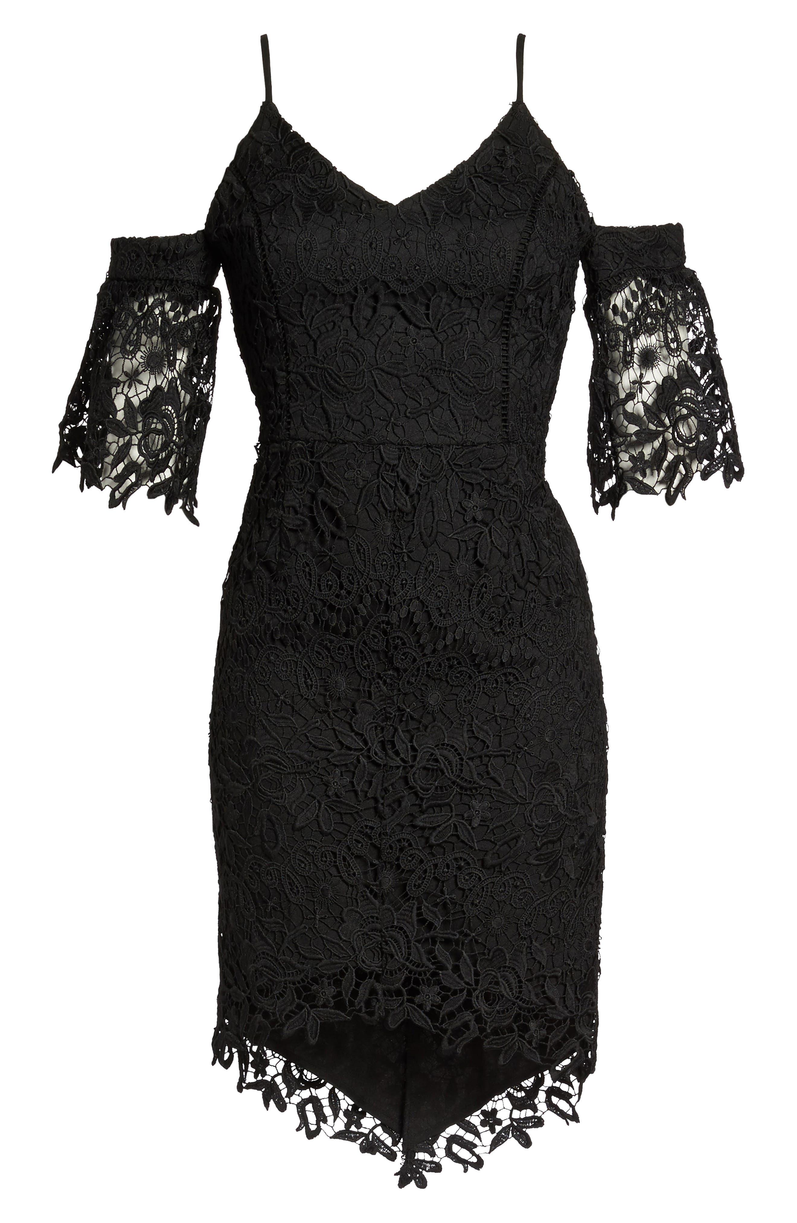 Krista Cold Shoulder Lace Sheath Dress,                             Alternate thumbnail 6, color,                             001