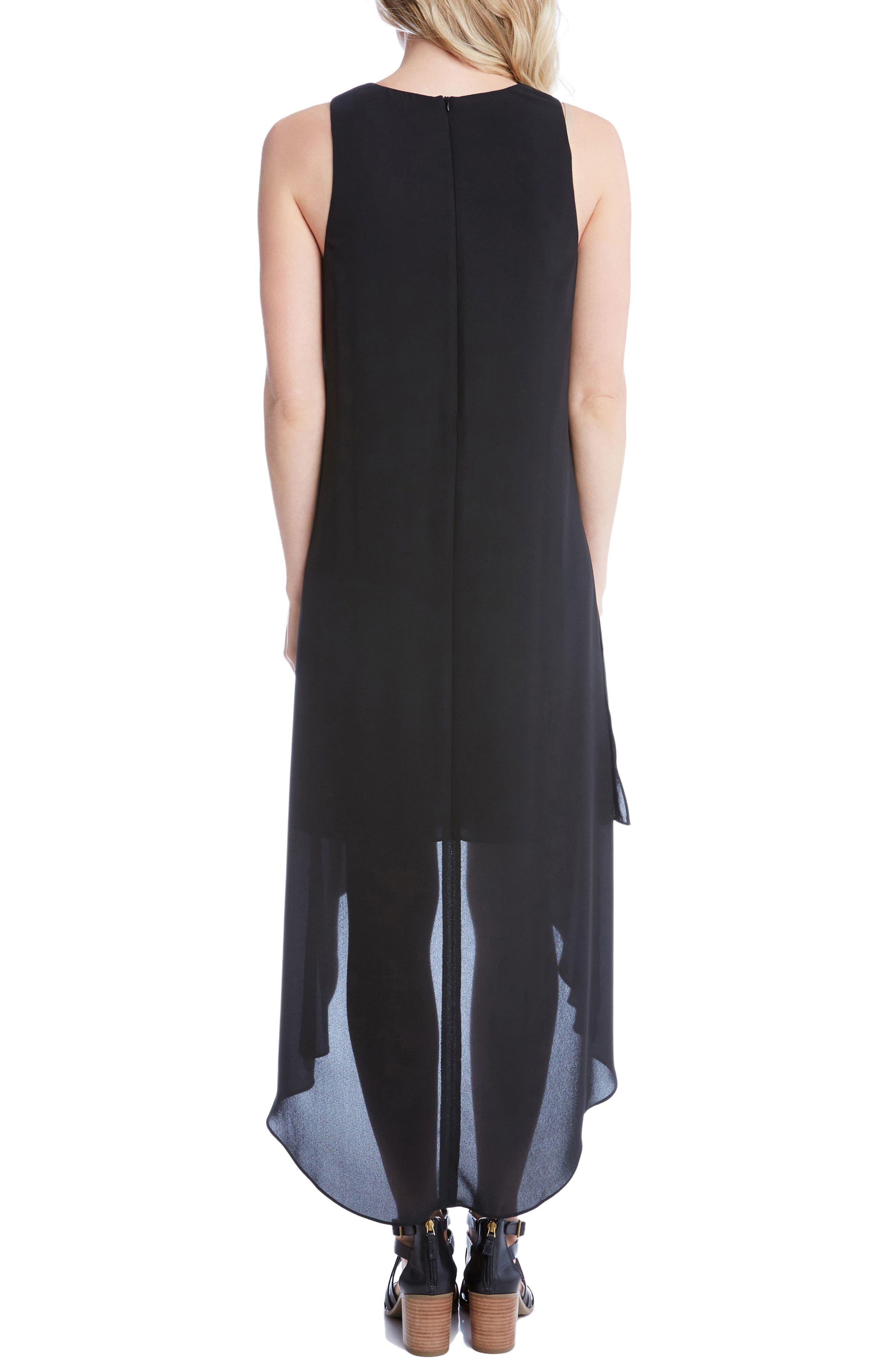High/Low Crepe Dress,                             Alternate thumbnail 2, color,                             001