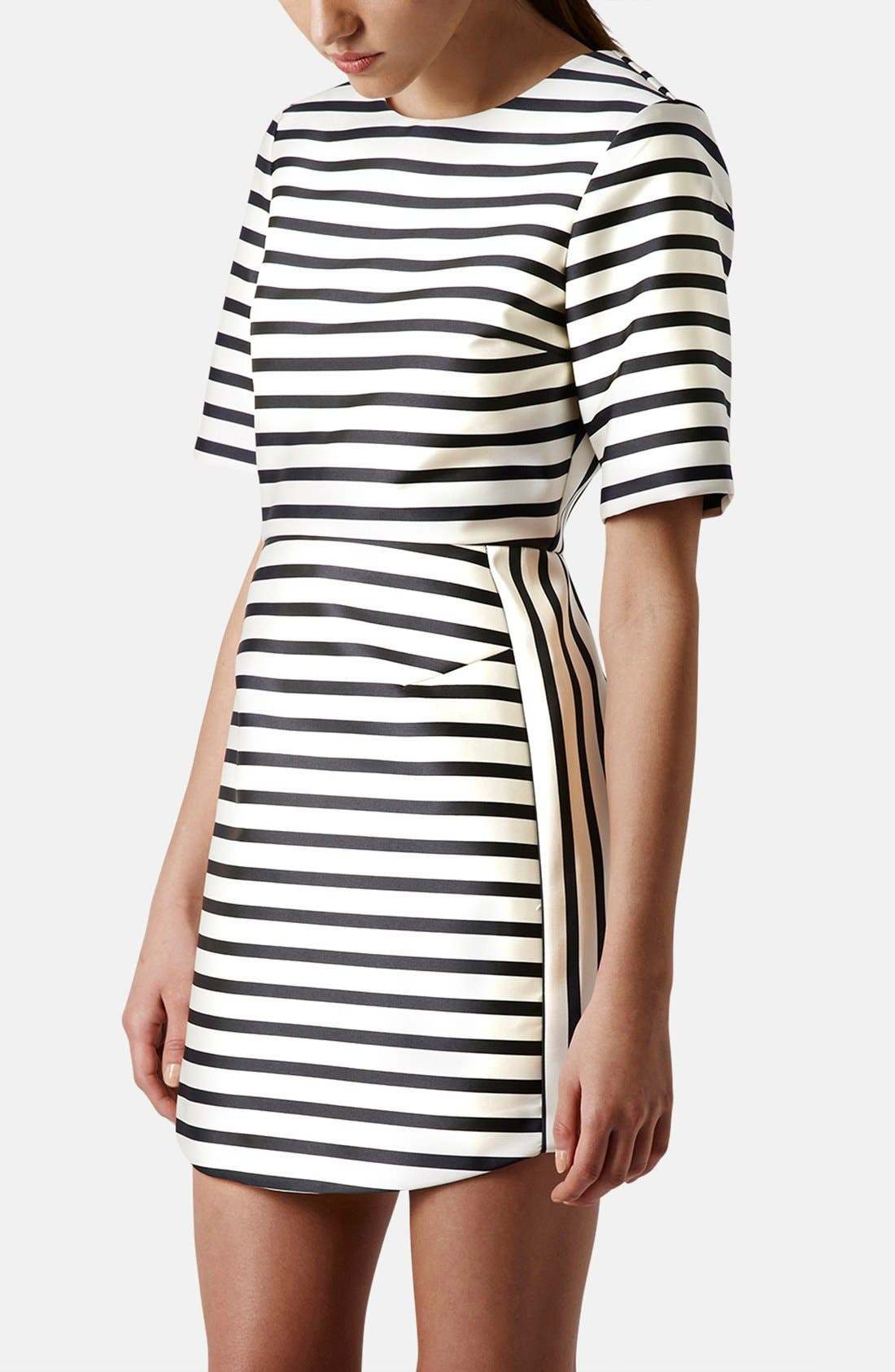 Stripe Satin Dress,                             Main thumbnail 2, color,