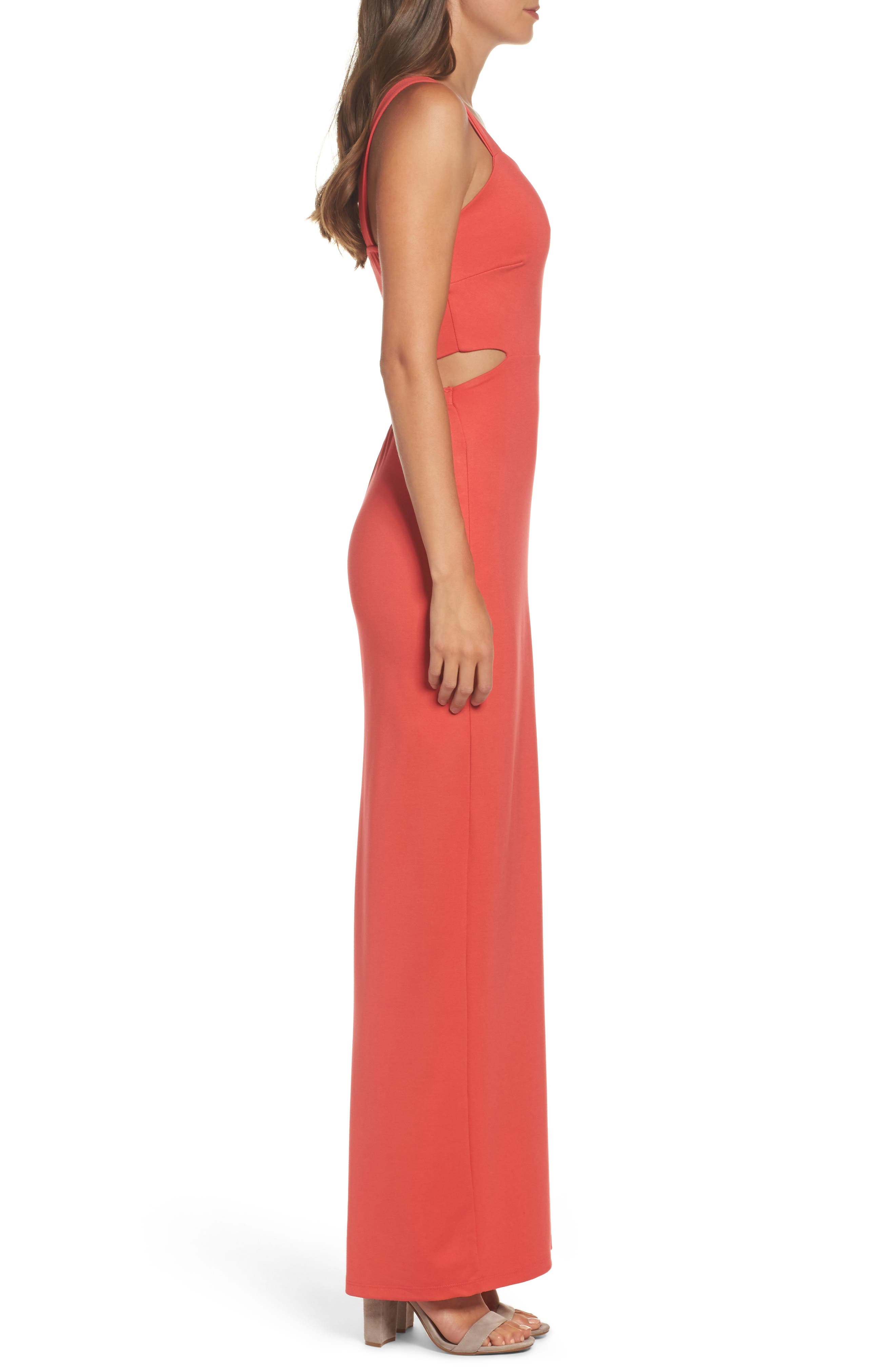 Maxi Dress,                             Alternate thumbnail 3, color,                             CORAL