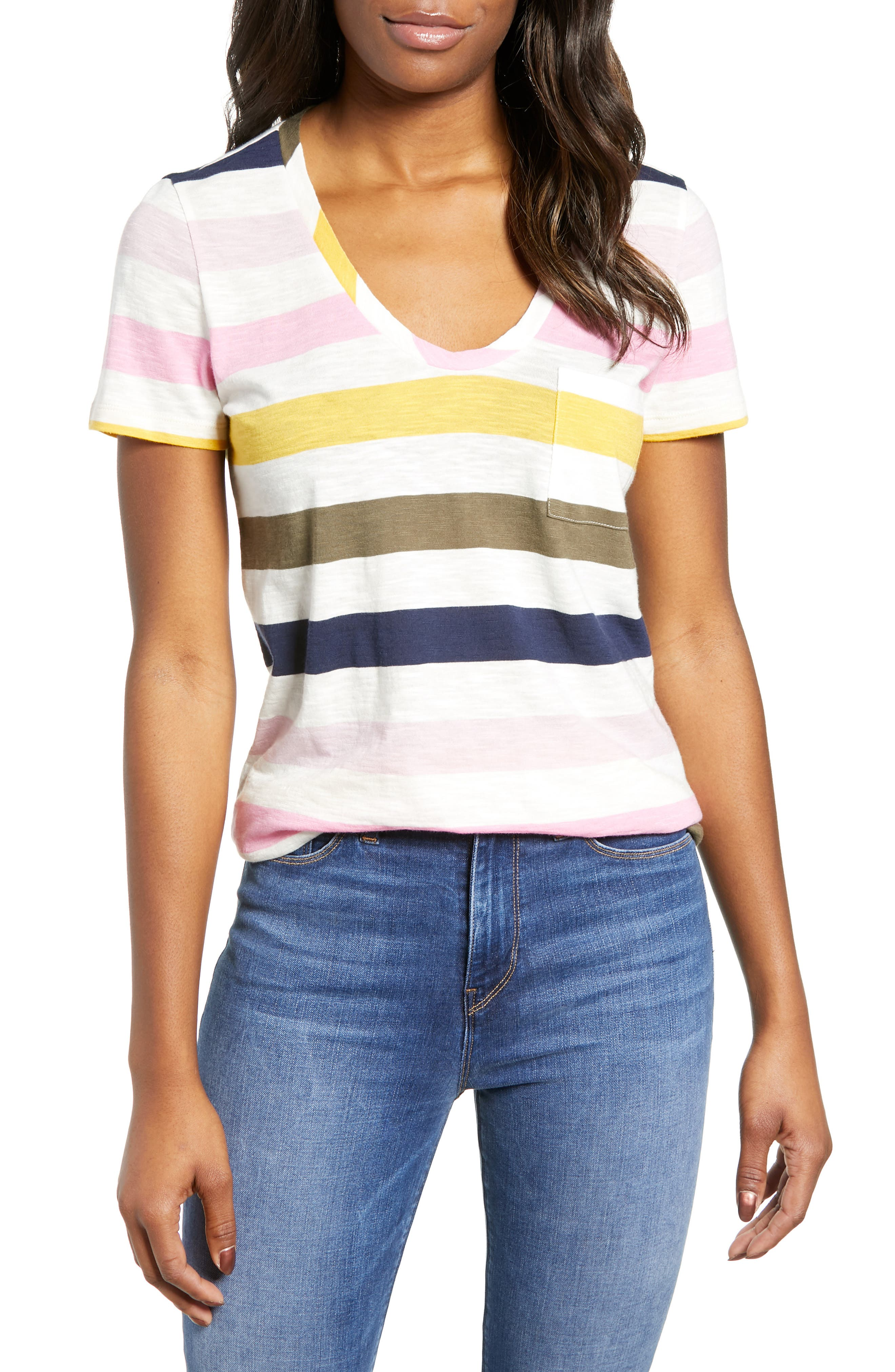 CASLON<SUP>®</SUP>,                             Rounded V-Neck Tee,                             Main thumbnail 1, color,                             PINK S- NAVY P NOMAD STRIPE