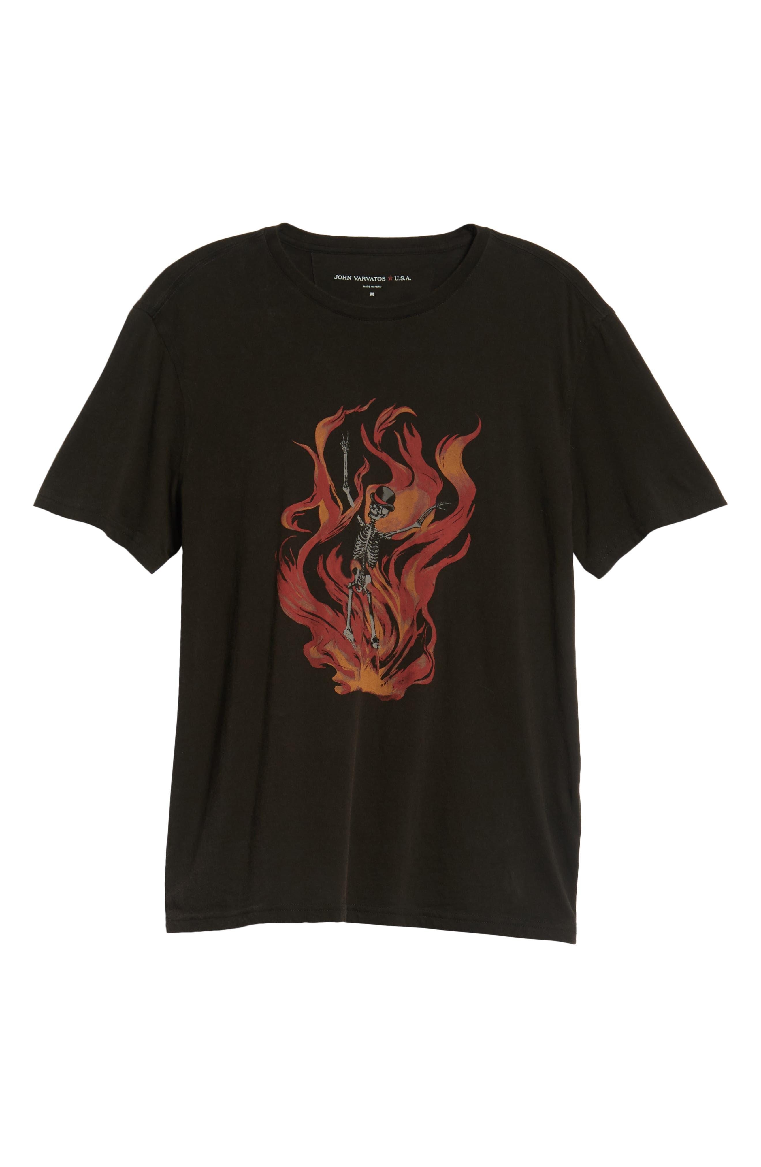 Fire Skeleton Graphic T-Shirt,                             Alternate thumbnail 6, color,                             001