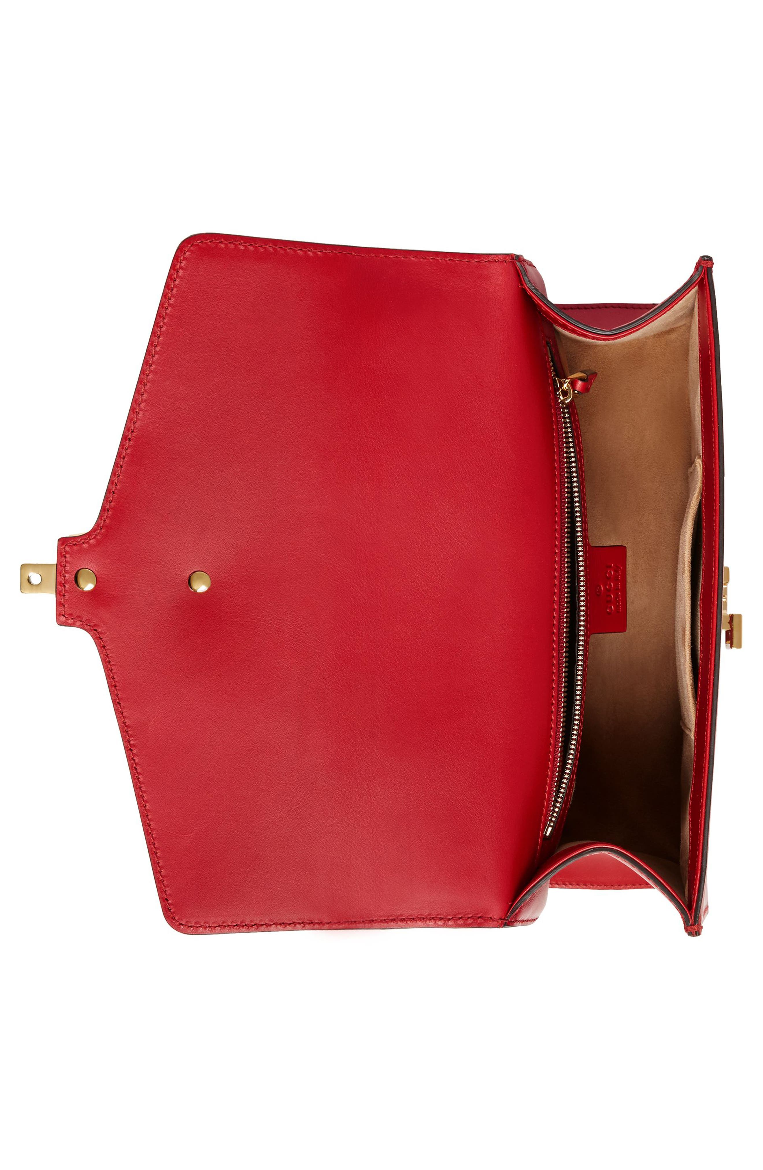 Small Sylvie Leather Shoulder Bag,                             Alternate thumbnail 2, color,                             HIBISCUS RED/ BLUE/ RED