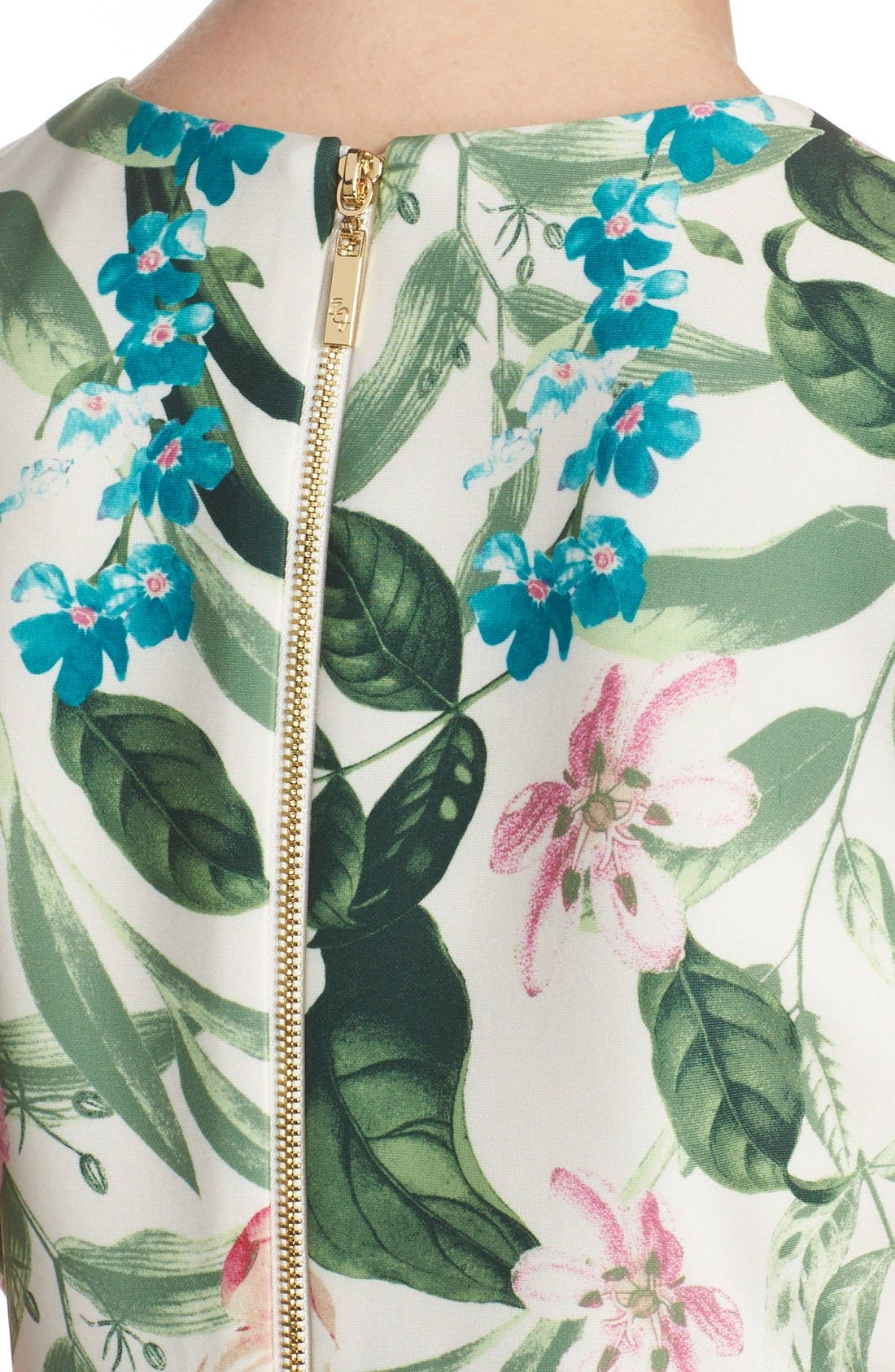 Placed Floral Print Stretch A-Line Dress,                             Alternate thumbnail 2, color,