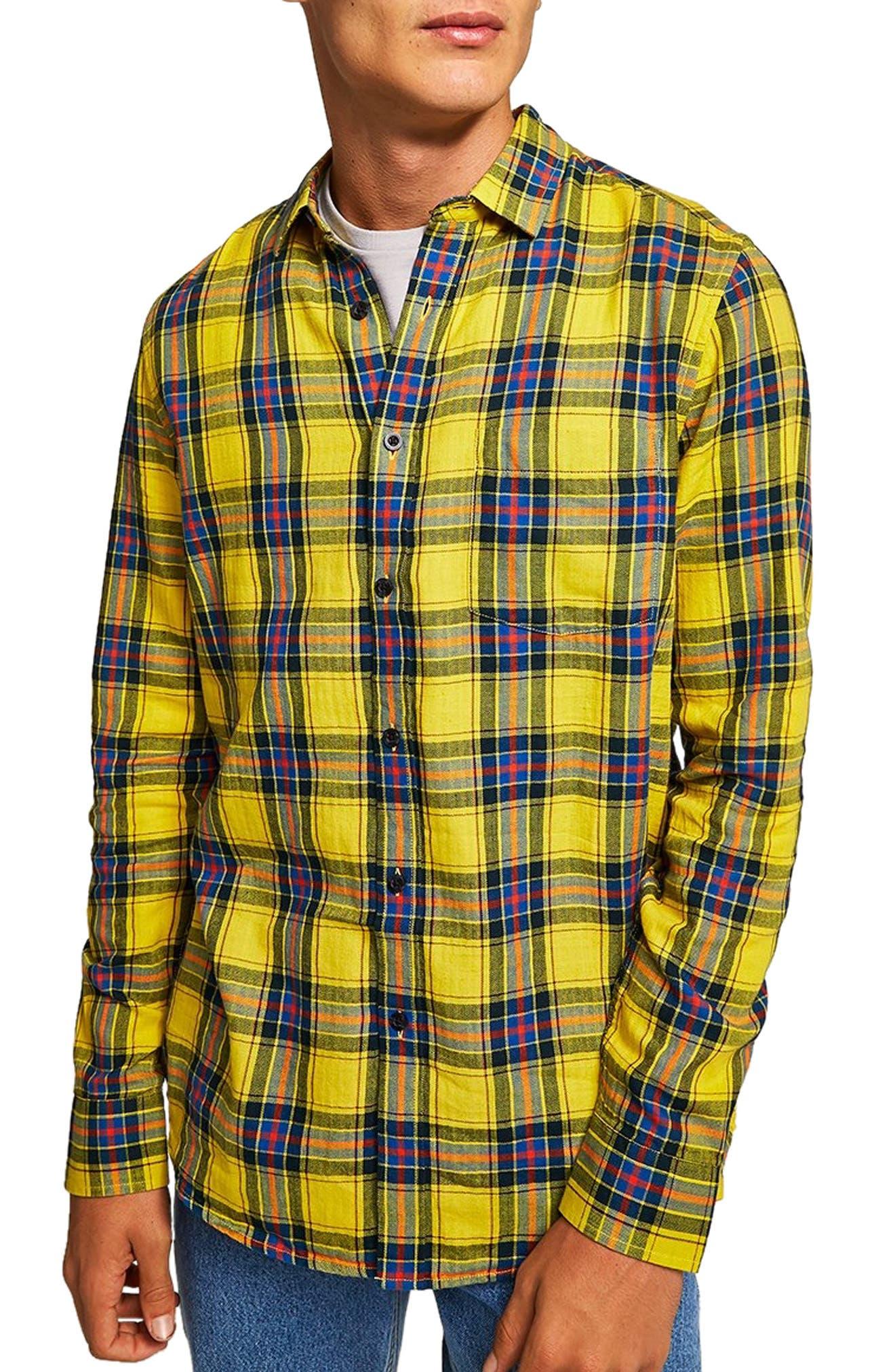 Check Shirt,                             Main thumbnail 1, color,                             YELLOW