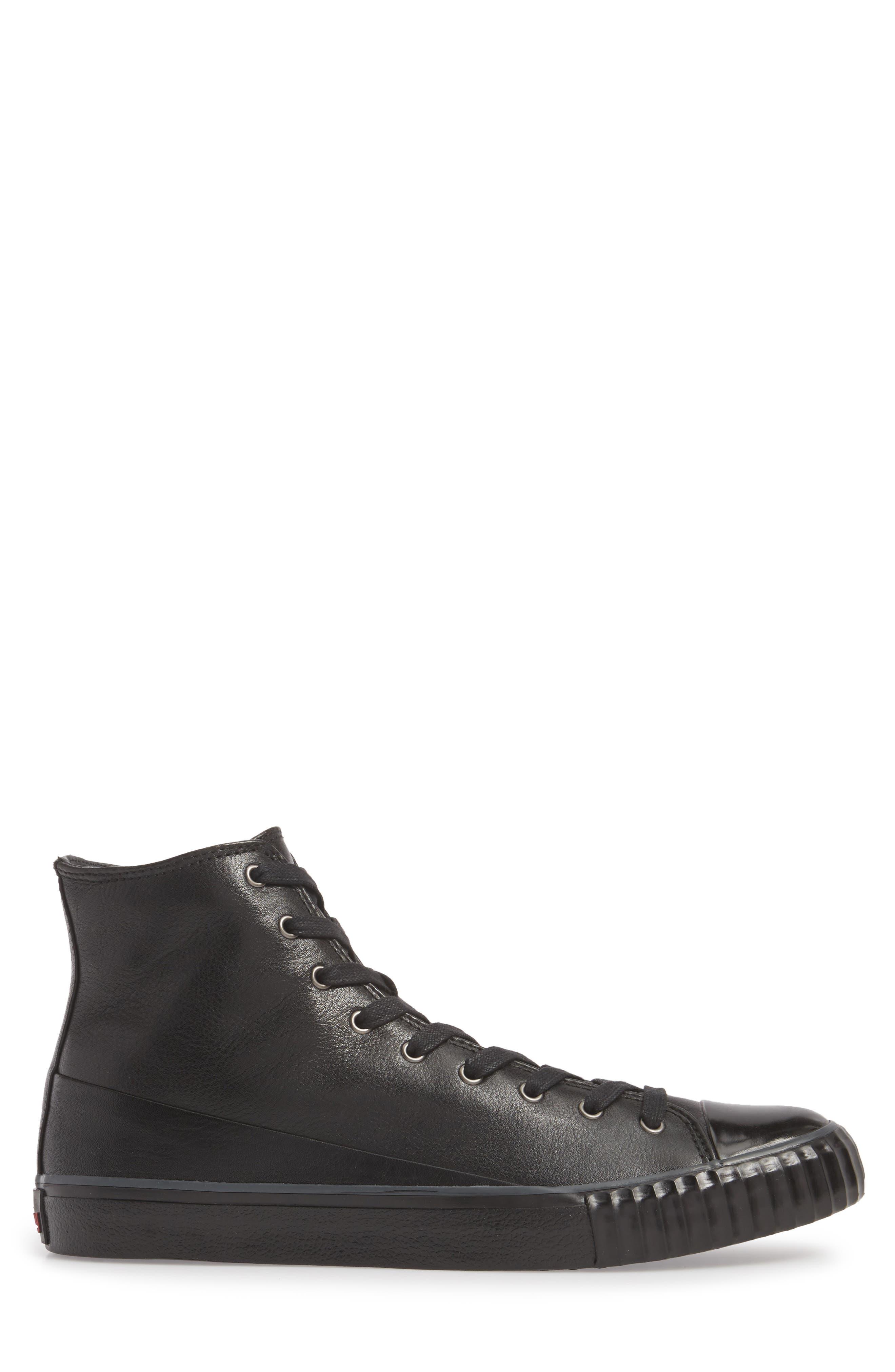 Bootleg High Top Sneaker,                             Alternate thumbnail 3, color,                             BLACK LEATHER