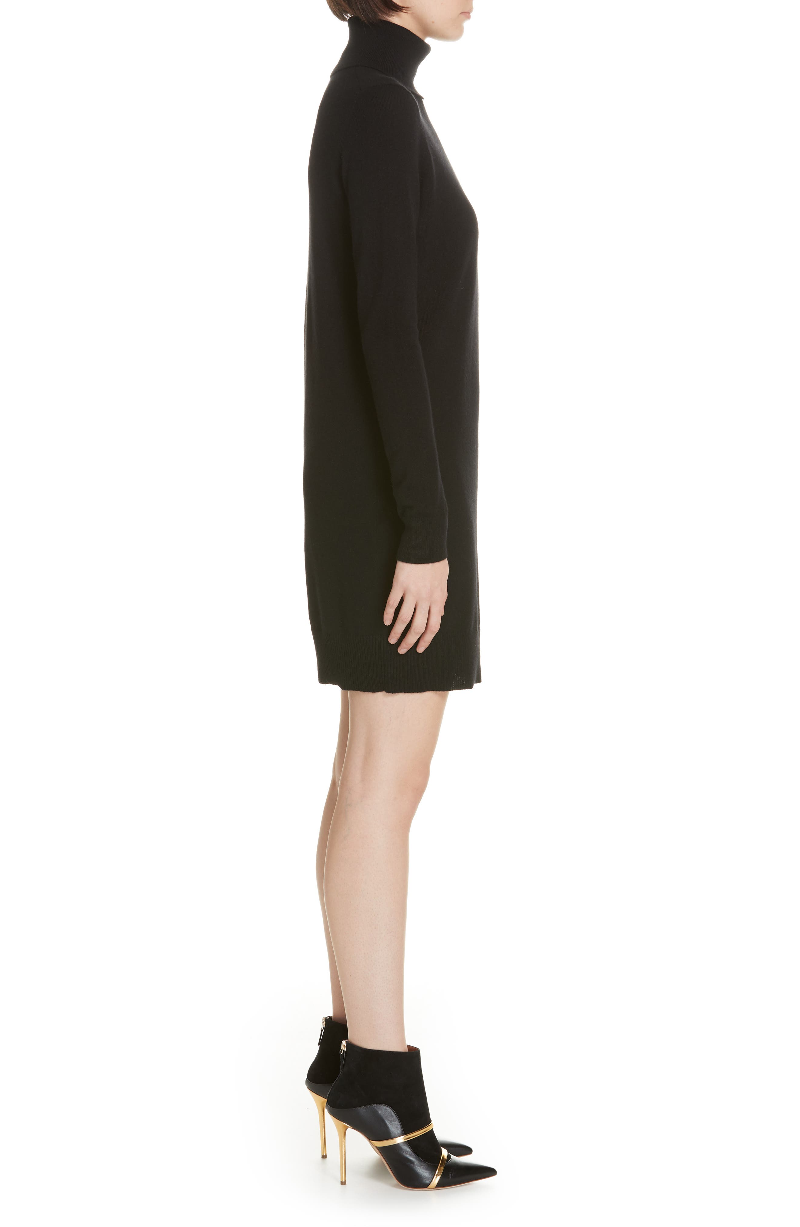 Cashmere Turtleneck Sweater Dress,                             Alternate thumbnail 3, color,                             001