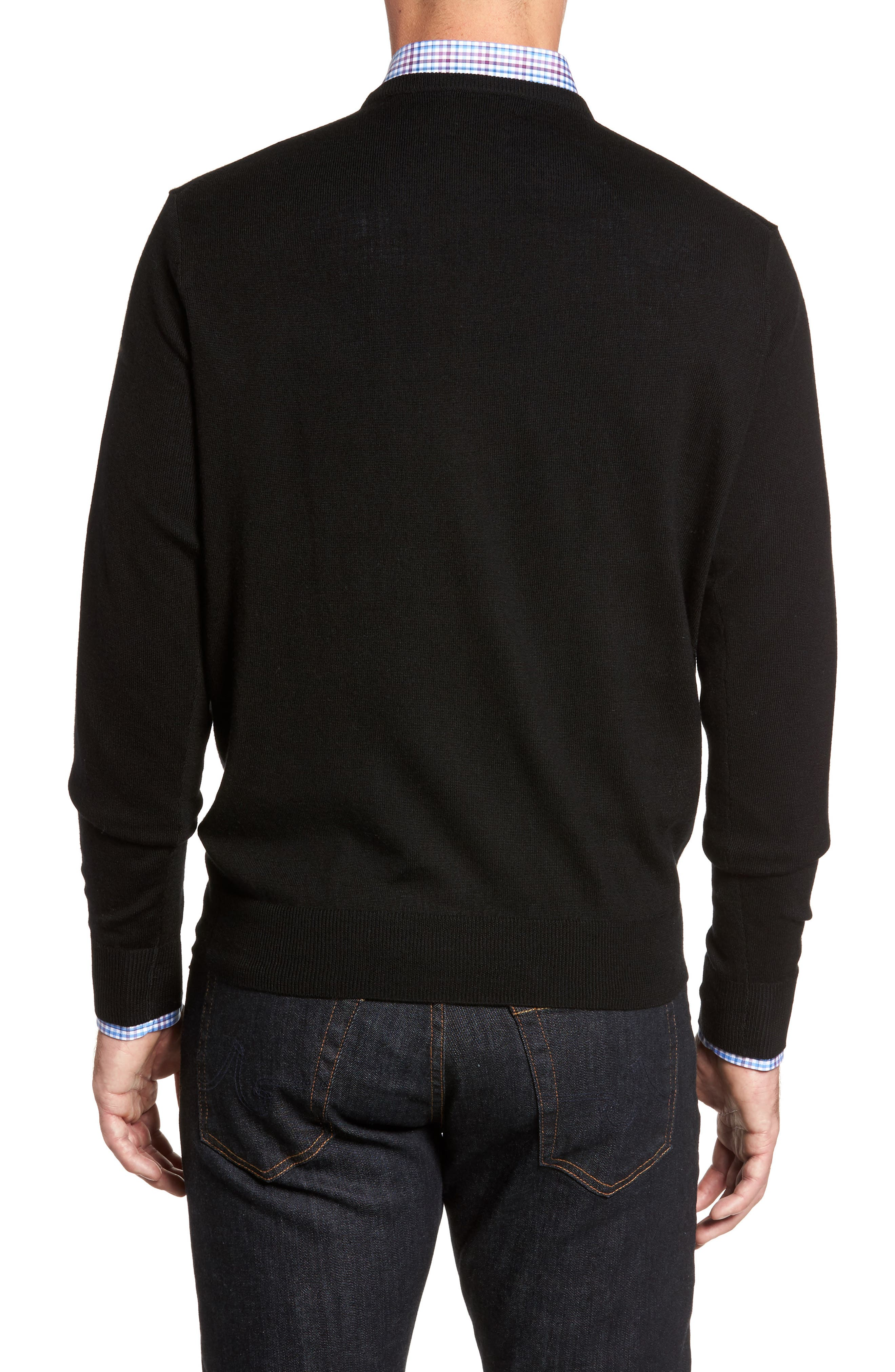 Crown Soft Merino Wool & Silk Crewneck Sweater,                             Alternate thumbnail 2, color,                             001