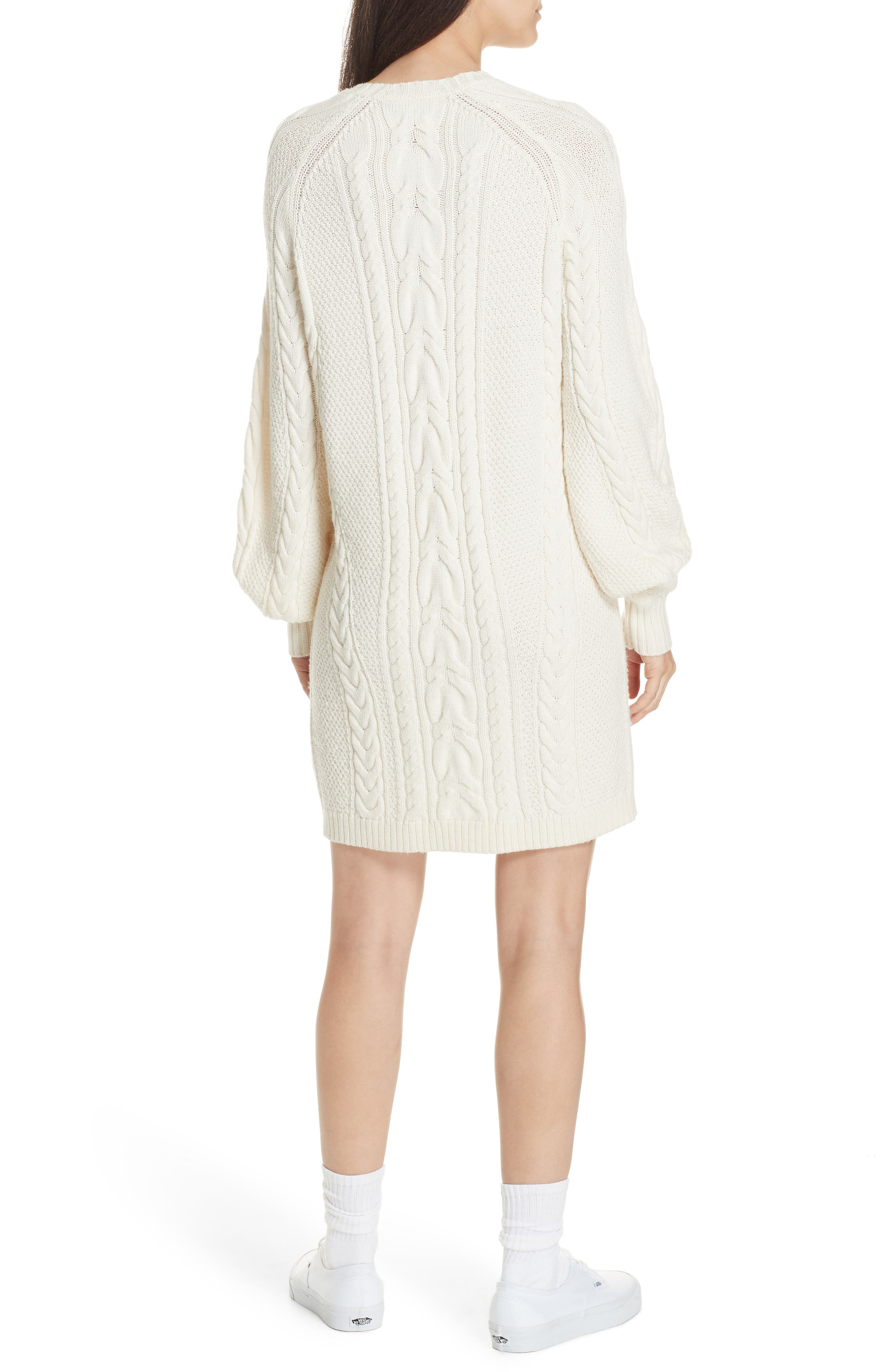 Cable Sweater Dress,                             Alternate thumbnail 2, color,                             CREAM