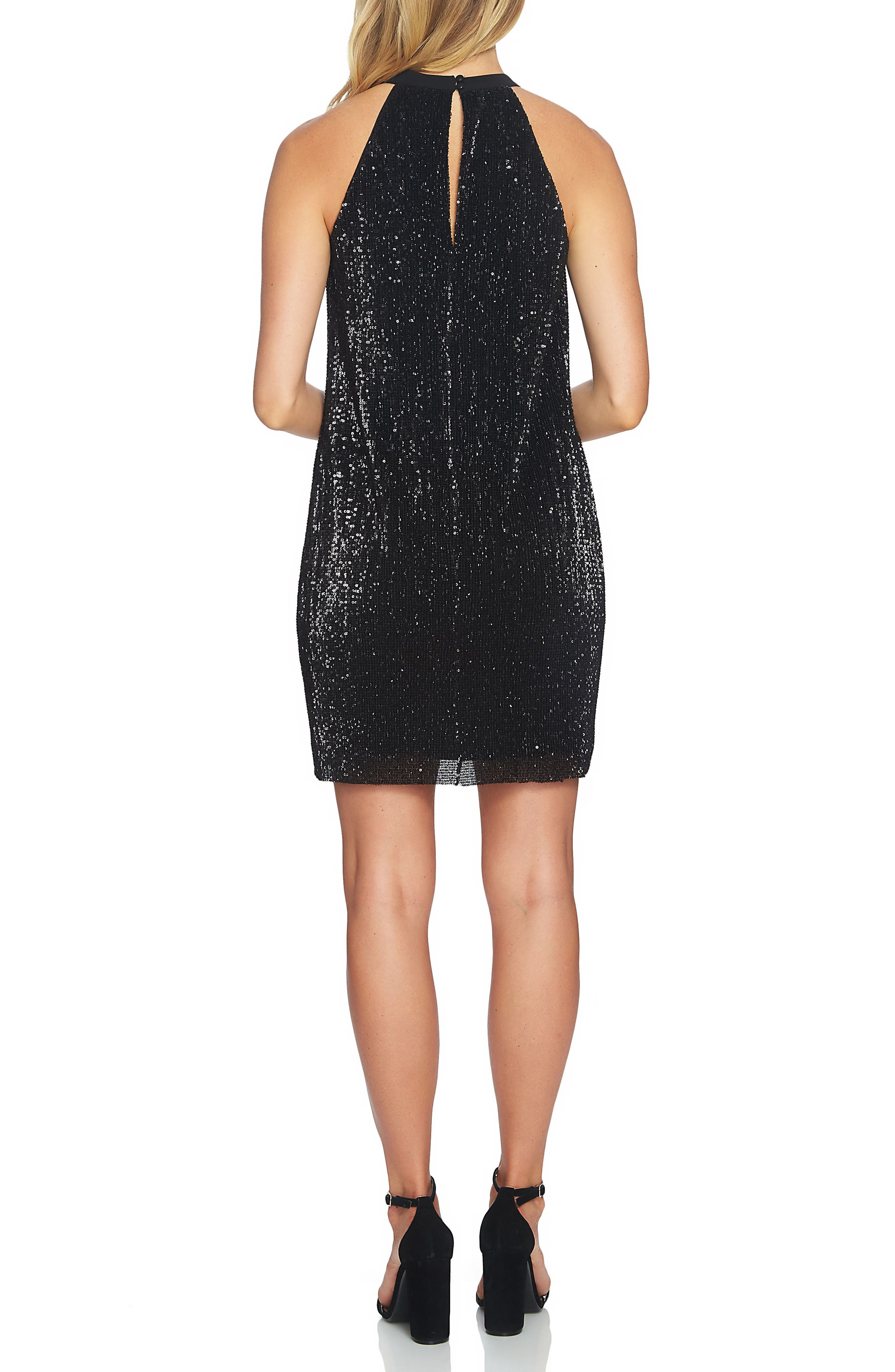 Sequin Halter Dress,                             Alternate thumbnail 2, color,                             006