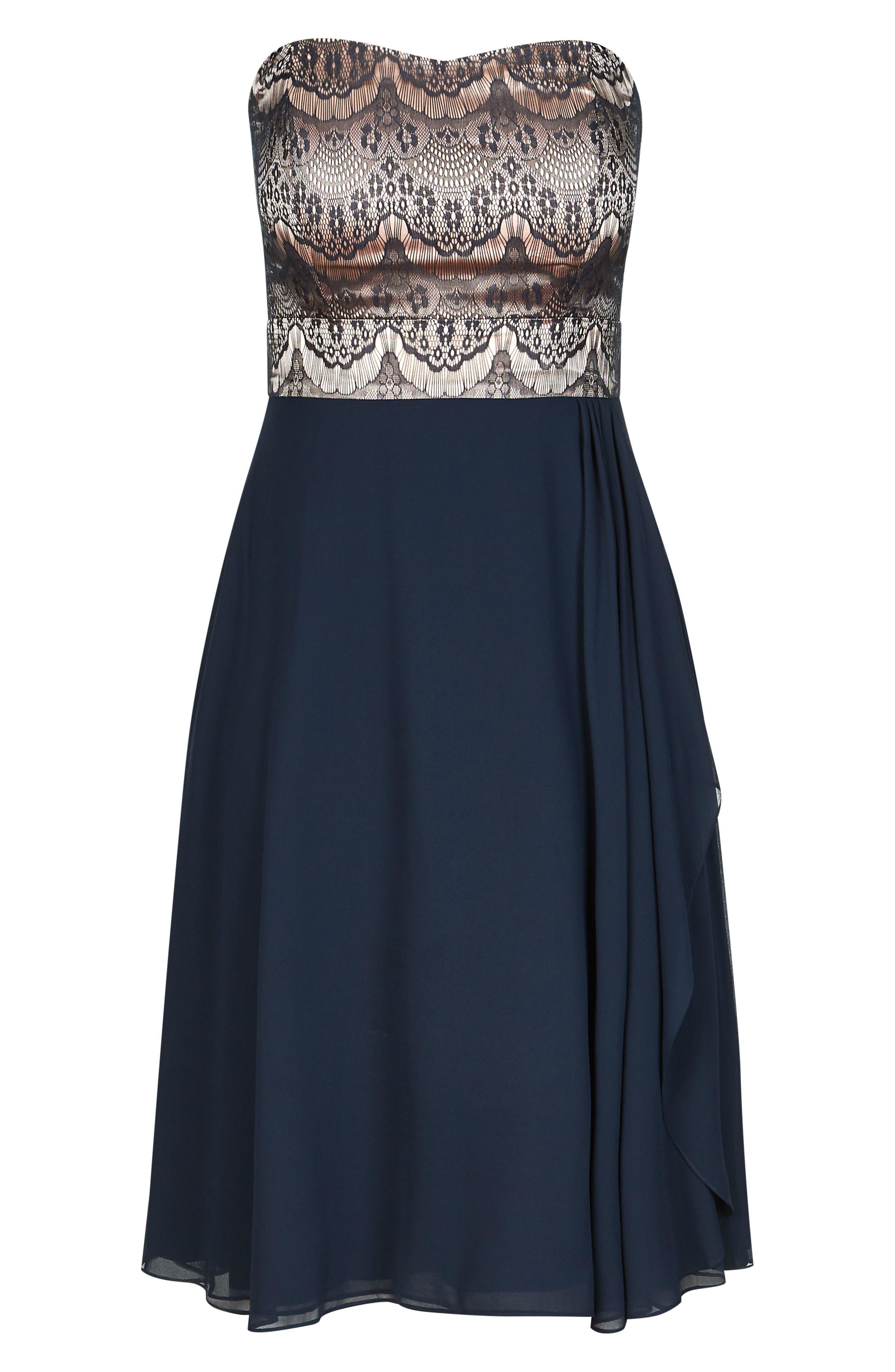 Eyelash Ebony Strapless Fit & Flare Dress,                             Alternate thumbnail 3, color,                             NAVY