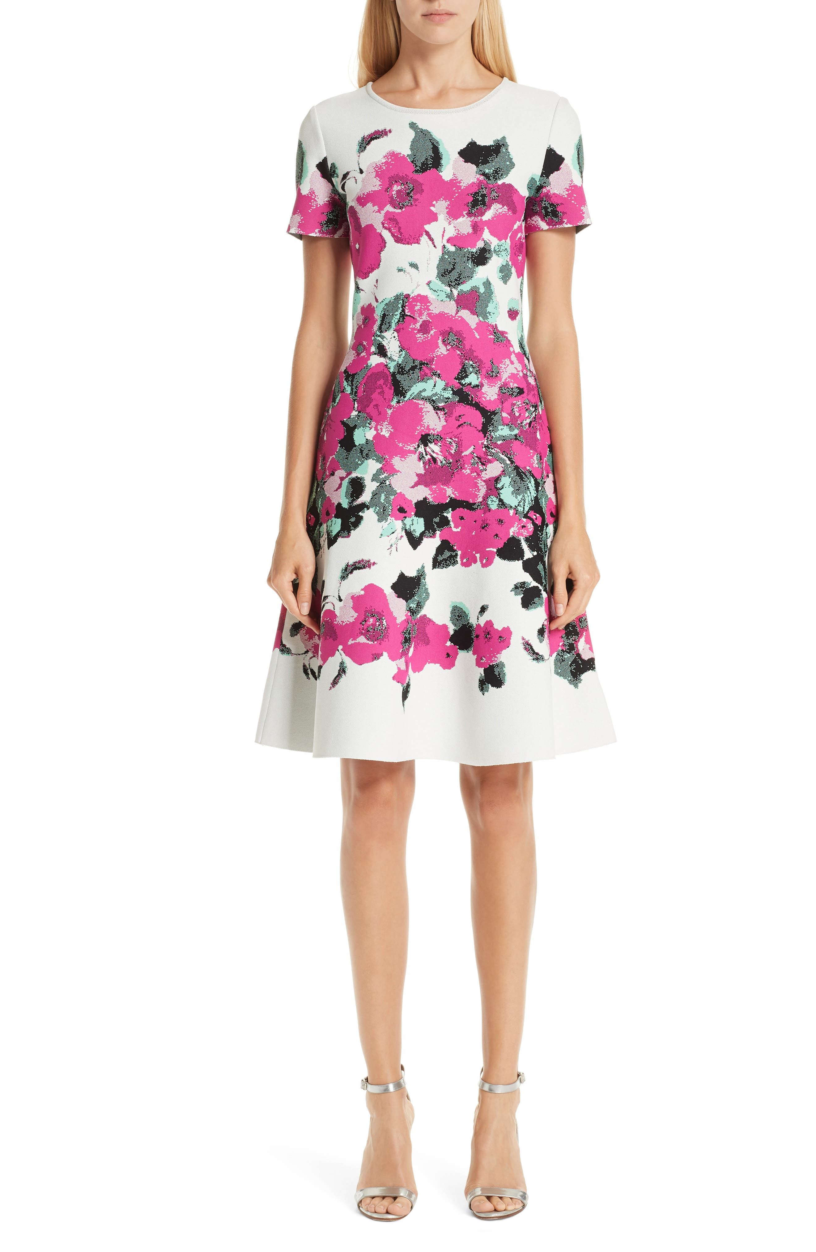 ST. JOHN Short-Sleeve Blooming Jacquard Fit-And-Flare Dress in Cream/ Camellia Multi