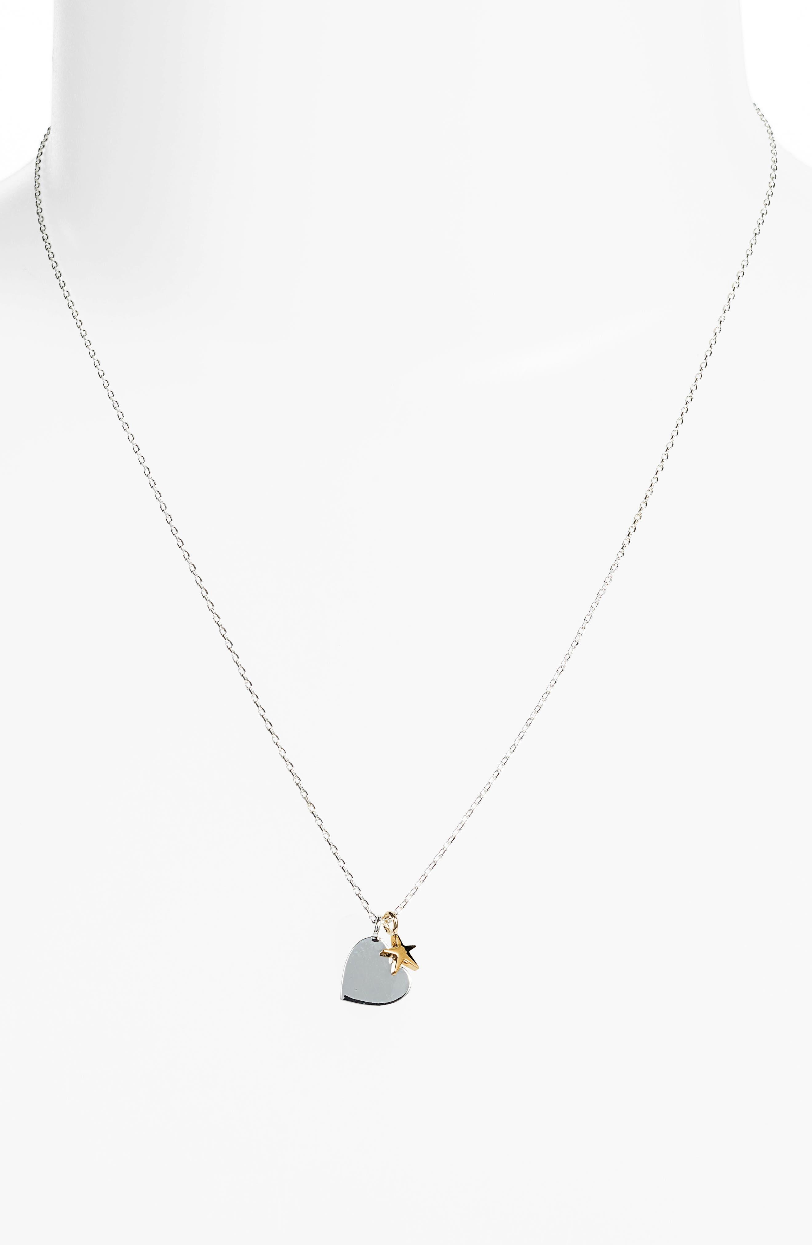 Heart Double Charm Necklace,                             Alternate thumbnail 2, color,