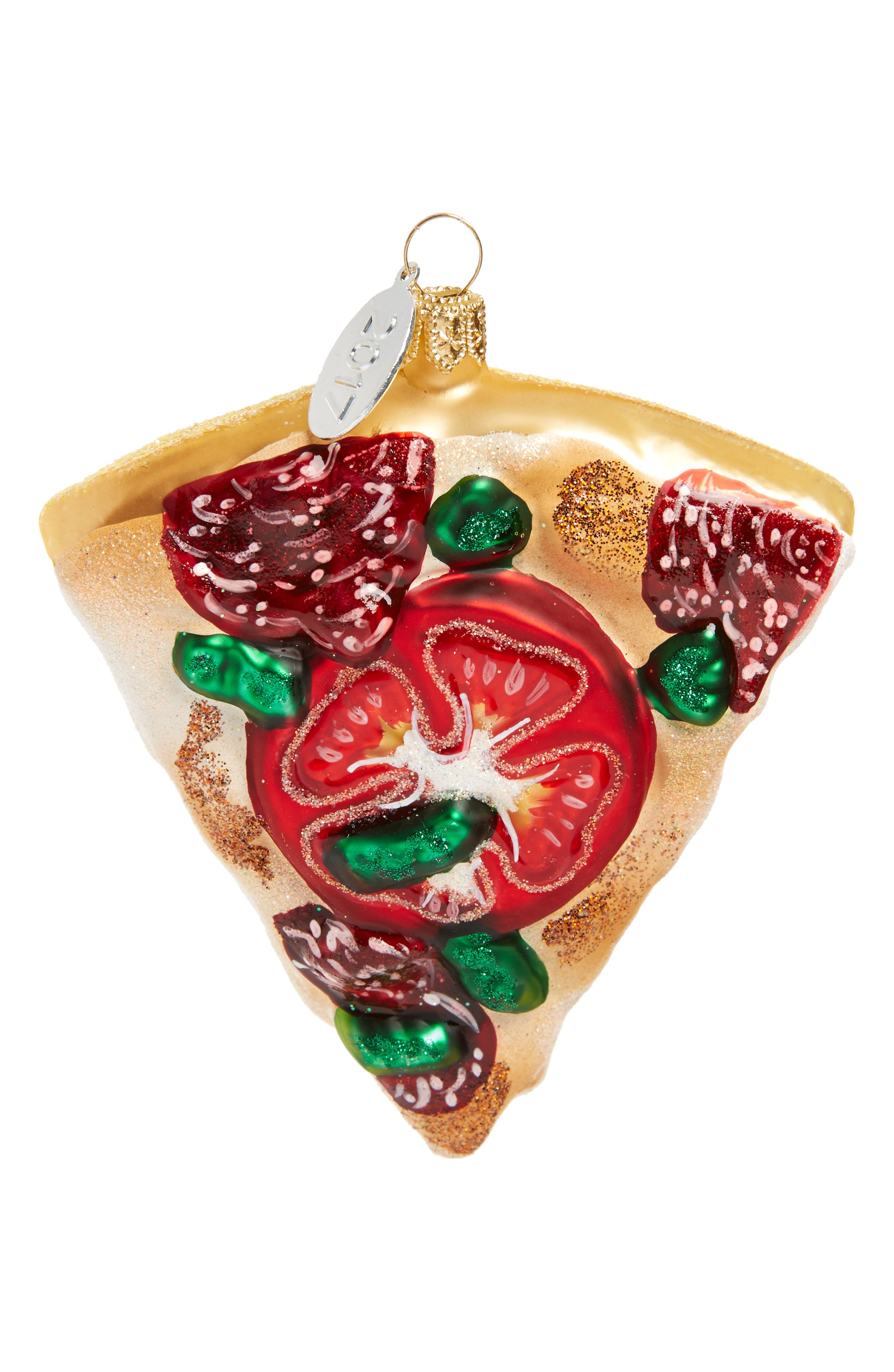 Pizza Glass Ornament,                         Main,                         color, 100
