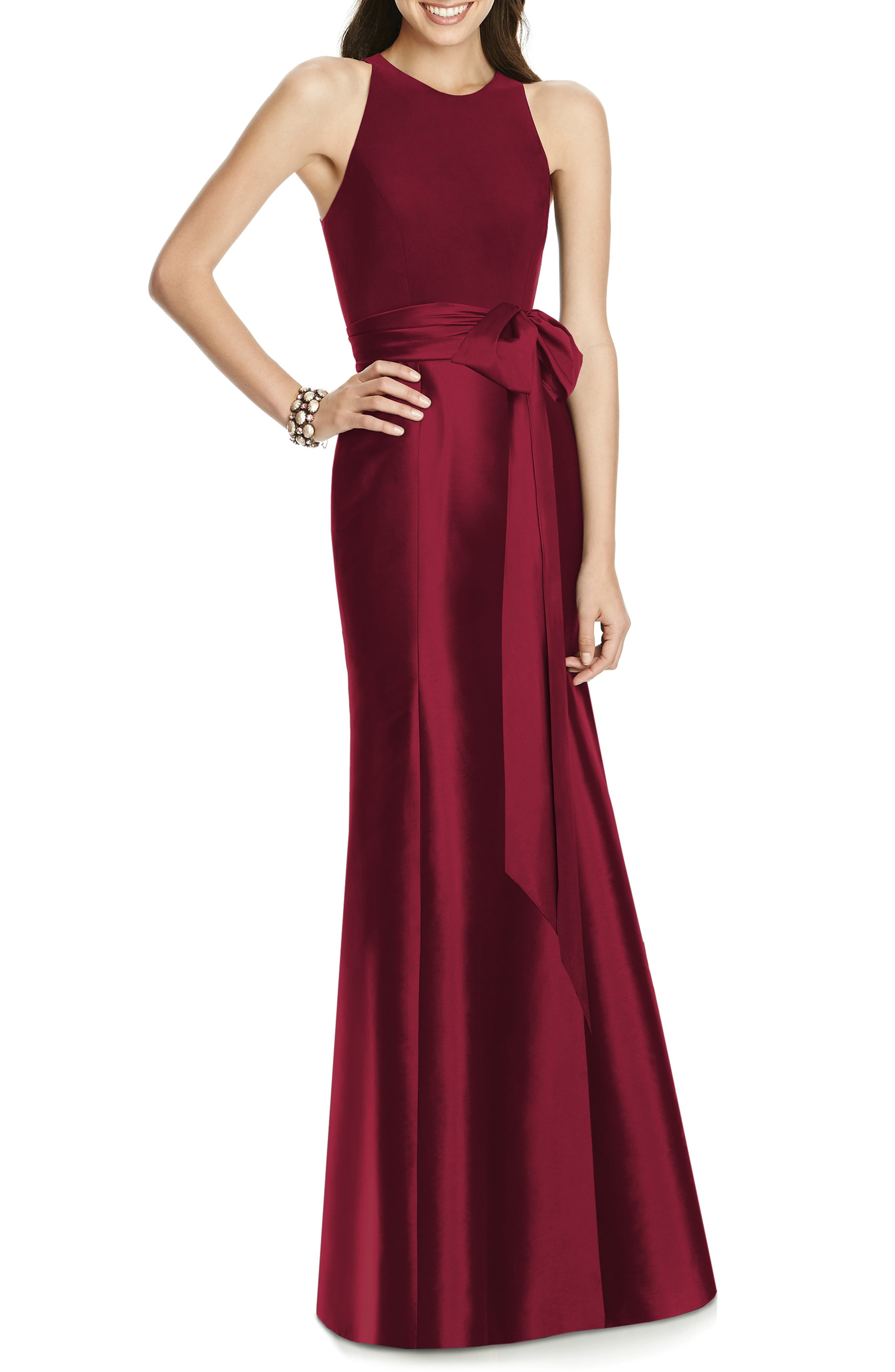 Alfred Sung Mikado Jersey Bodice Trumpet Gown, Red