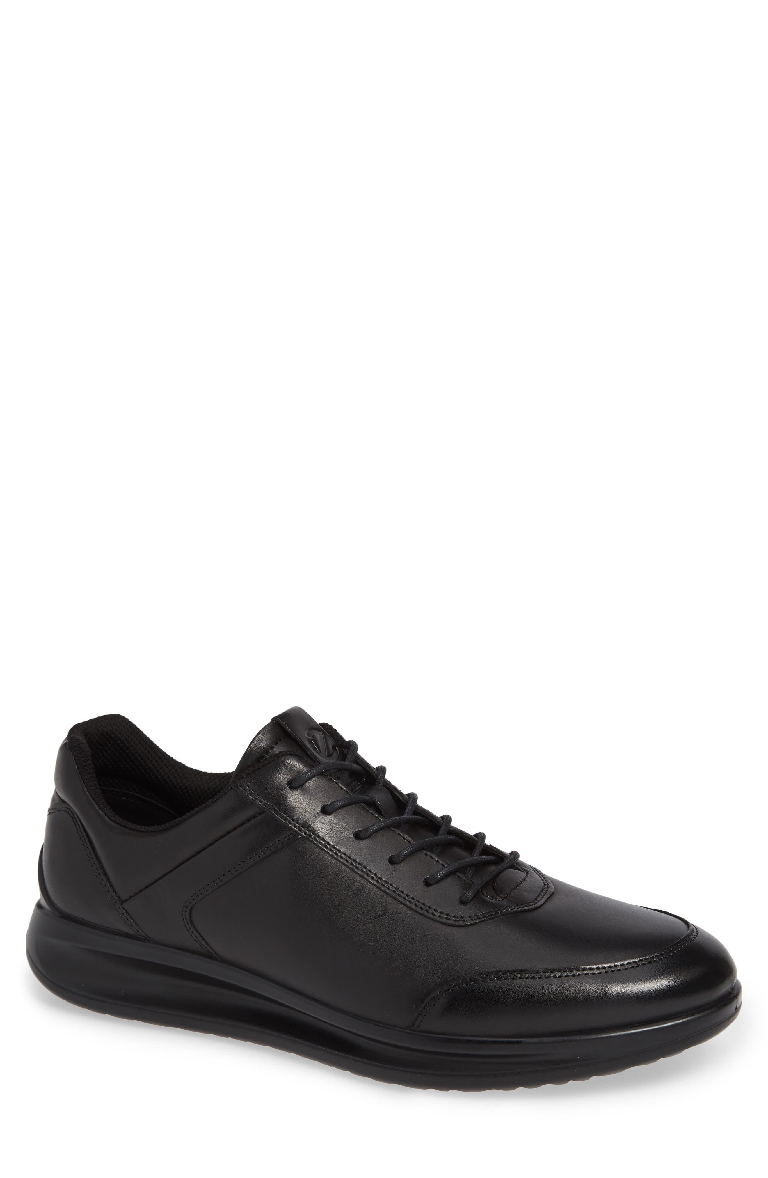 Aquet Low Top Sneaker,                             Main thumbnail 1, color,                             BLACK LEATHER
