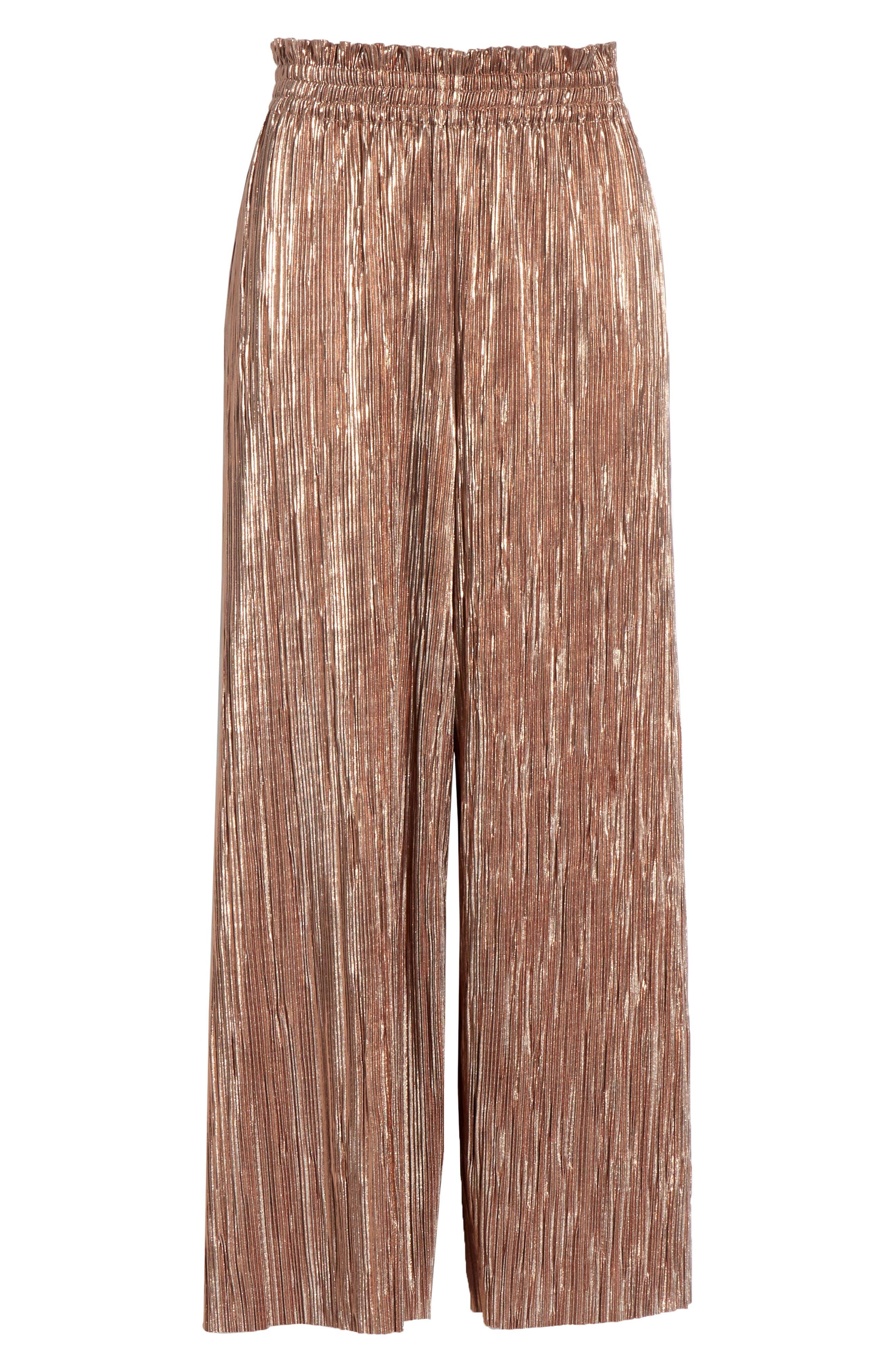 Elba Paperbag Waist Crop Pants,                             Alternate thumbnail 6, color,                             ROSE GOLD