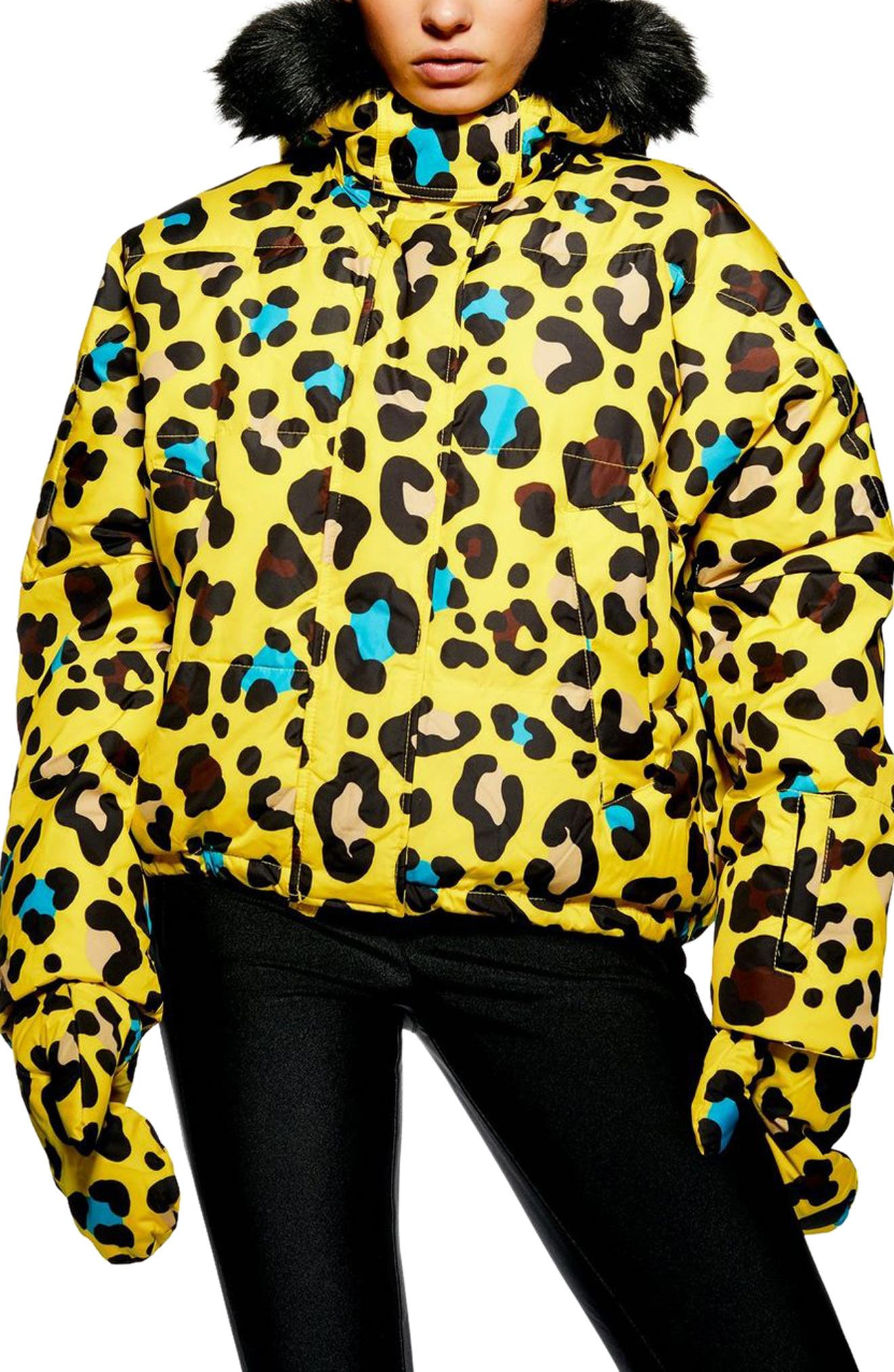 Piper Water Repellent Leopard Print Jacket & Mittens Set,                             Main thumbnail 1, color,                             YELLOW