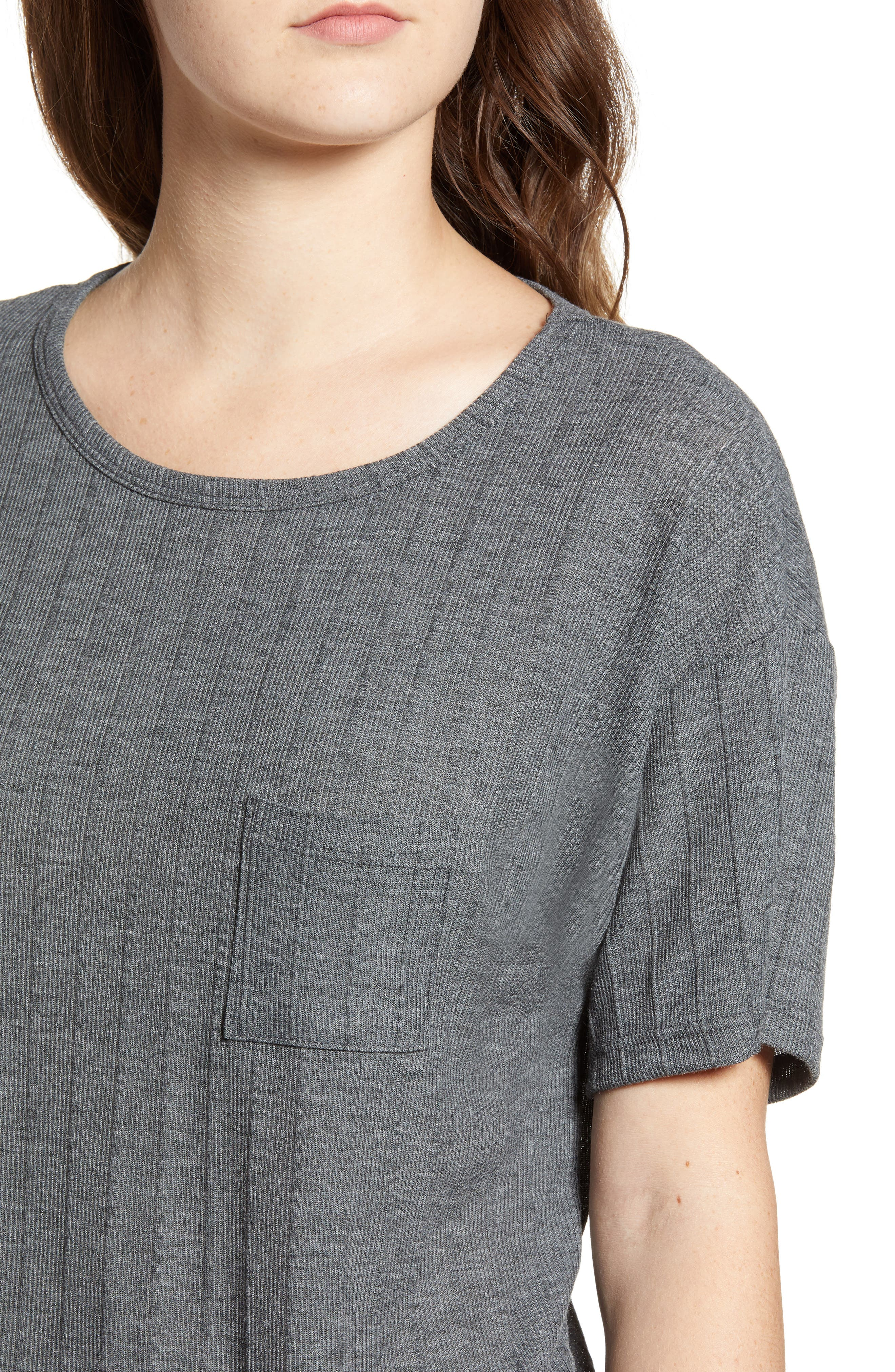 Variegated Rib Knit Tee,                             Alternate thumbnail 4, color,                             CHARCOAL