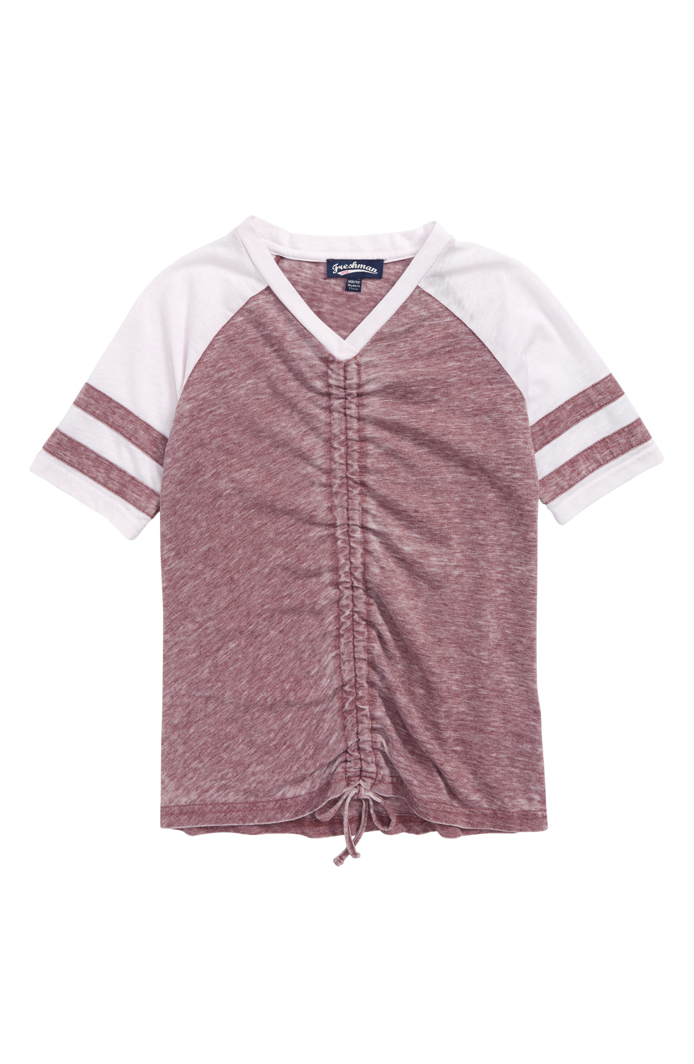 Varsity Stripe Ruched Front Tee,                             Main thumbnail 1, color,                             COOL PLUM/ WHITE