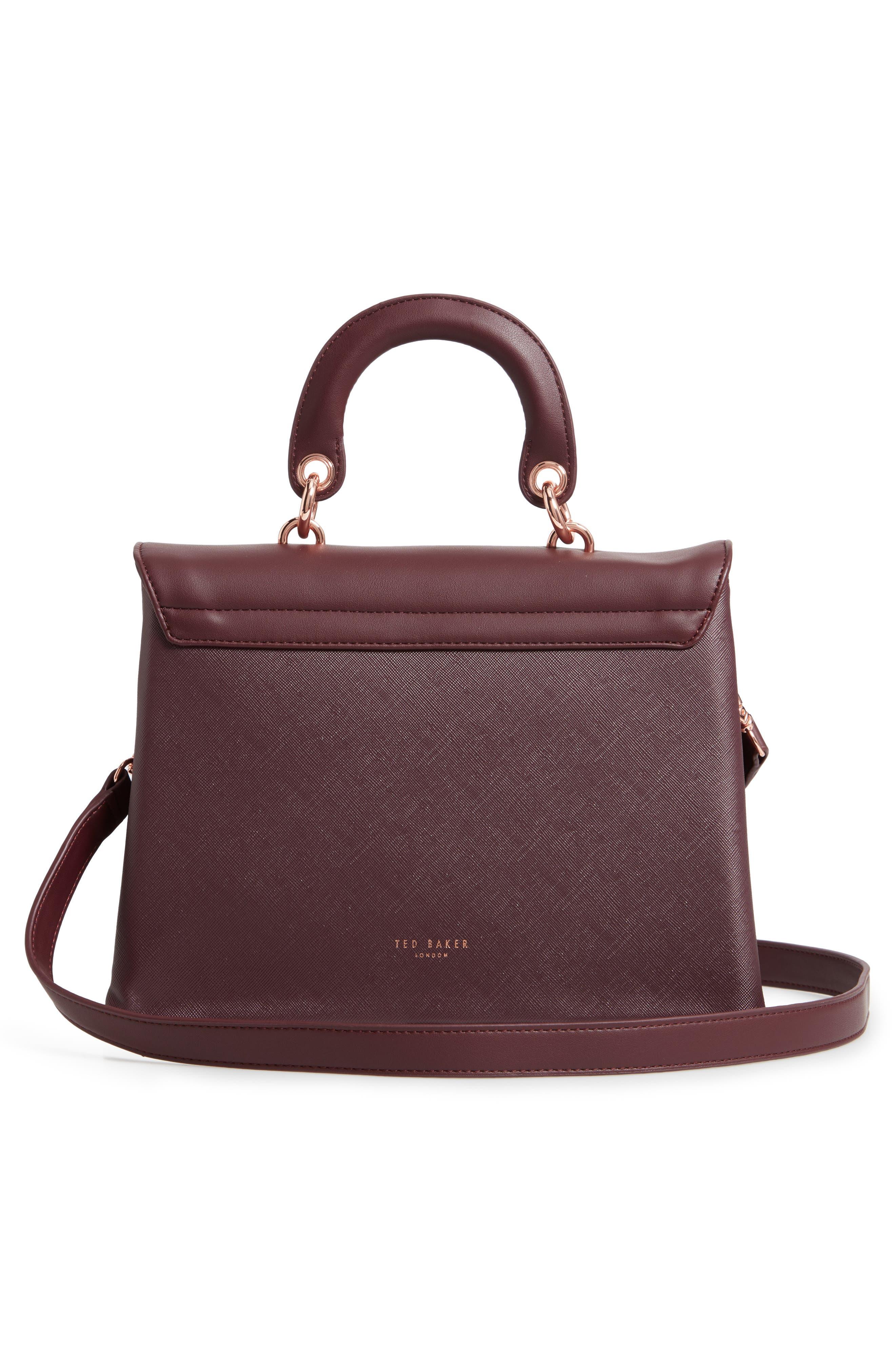 Keiira Lady Bag Faux Leather Top Handle Satchel,                             Alternate thumbnail 3, color,                             DEEP PURPLE