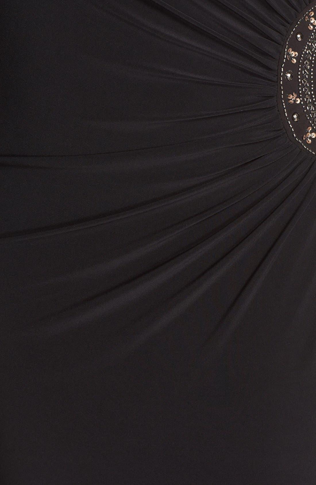 Embellished Stretch Jersey Long Dress,                             Alternate thumbnail 6, color,                             BLACK/ GOLD