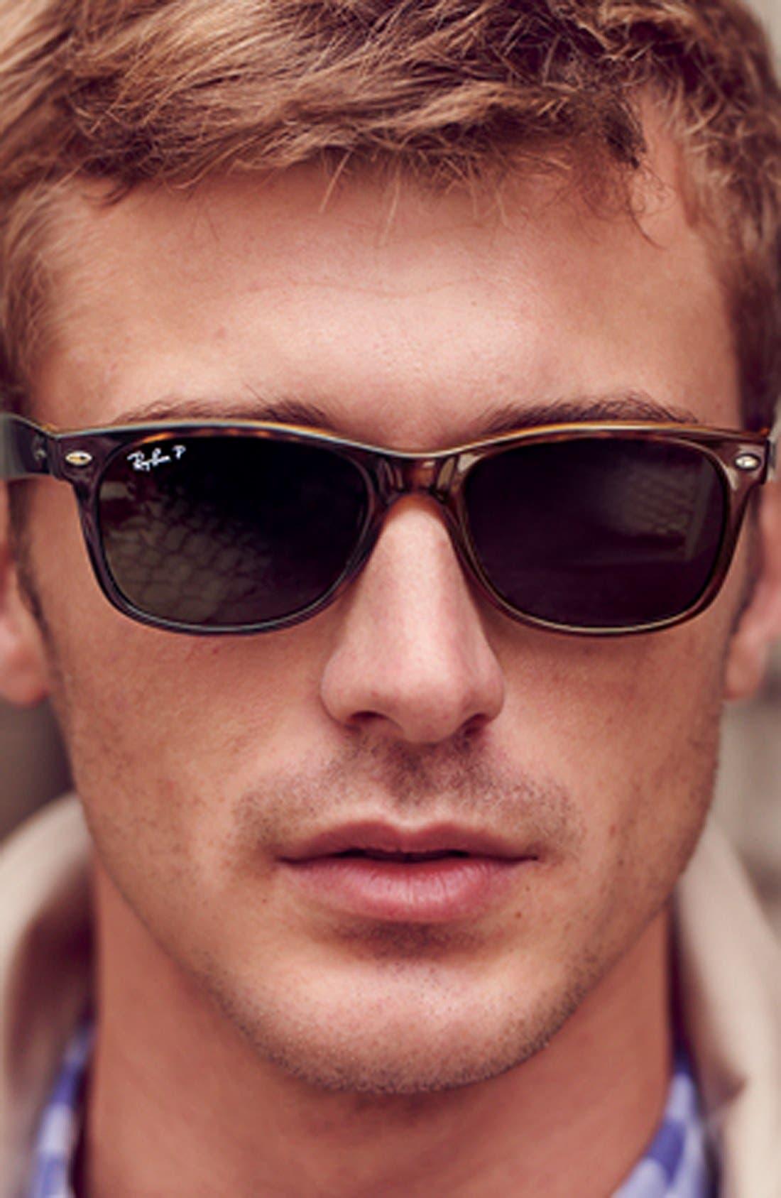 'New Wayfarer' 55mm Polarized Sunglasses,                             Alternate thumbnail 4, color,                             TORTOISE/ GREEN P