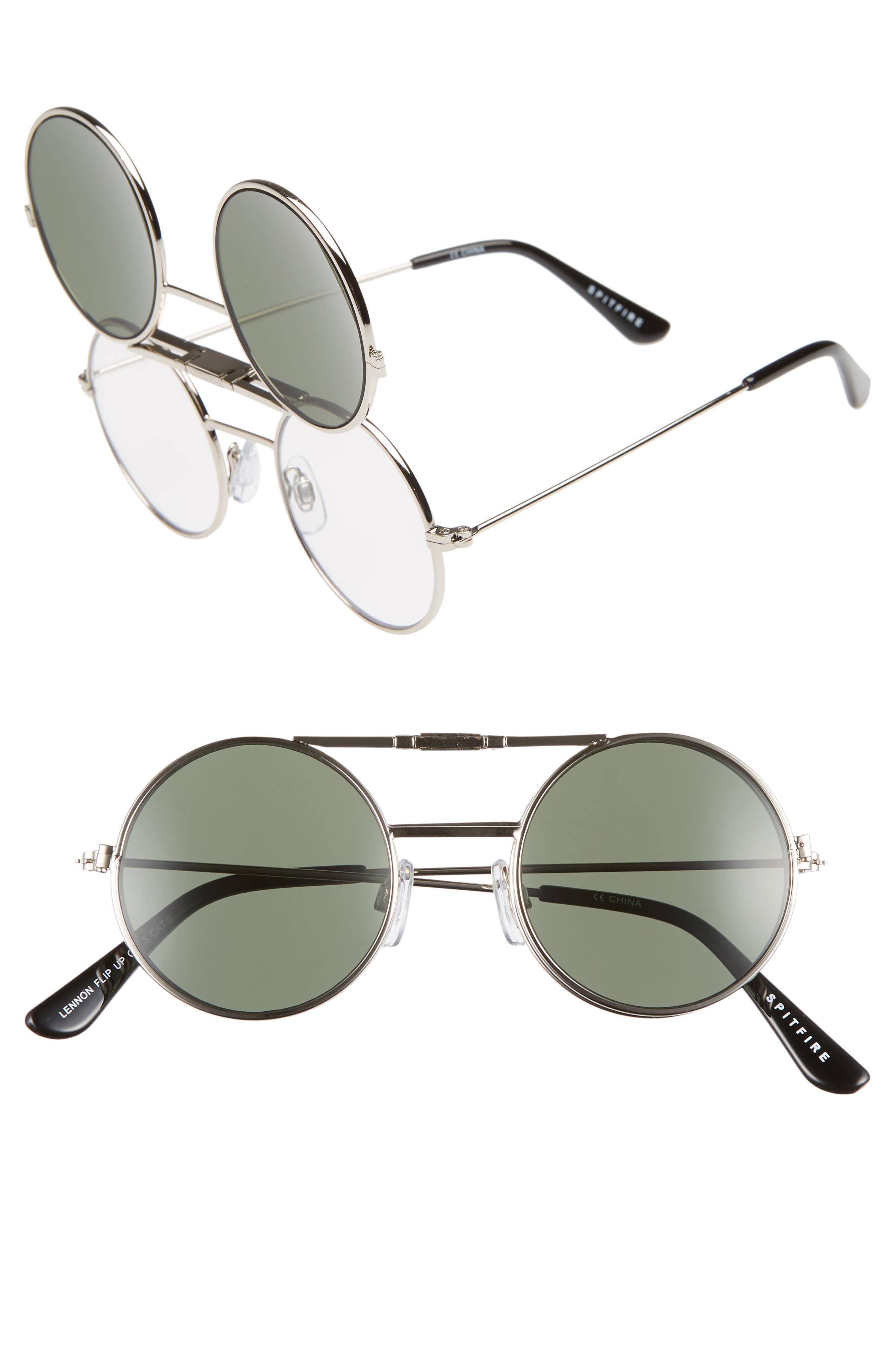 SPITFIRE Lennon Flip 45Mm Round Sunglasses - Silver/ Black