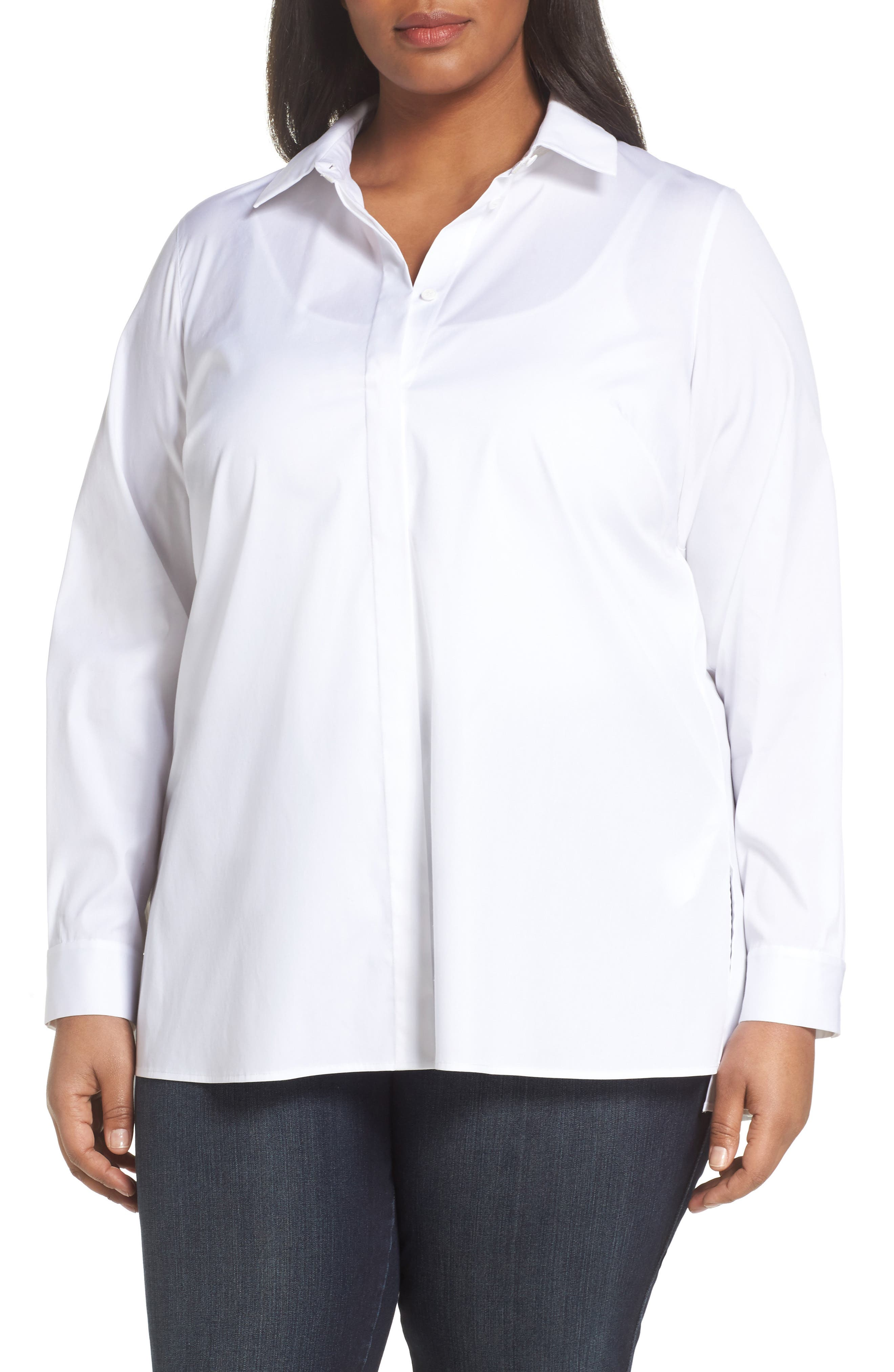 Lafayette 148 Braden Step Hem Blouse,                         Main,                         color, 100
