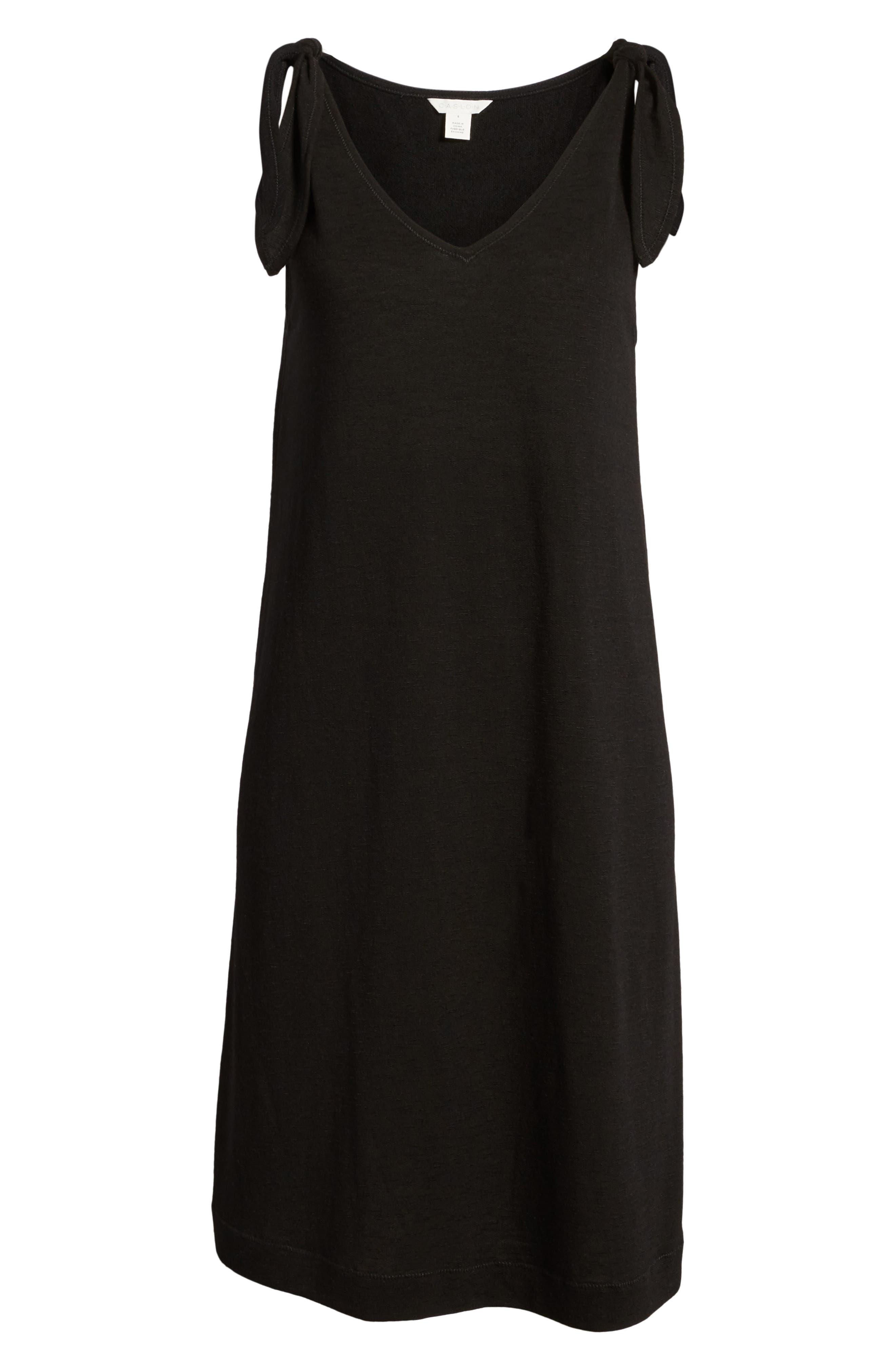 Knot Strap Knit Swing Dress,                             Alternate thumbnail 7, color,                             001
