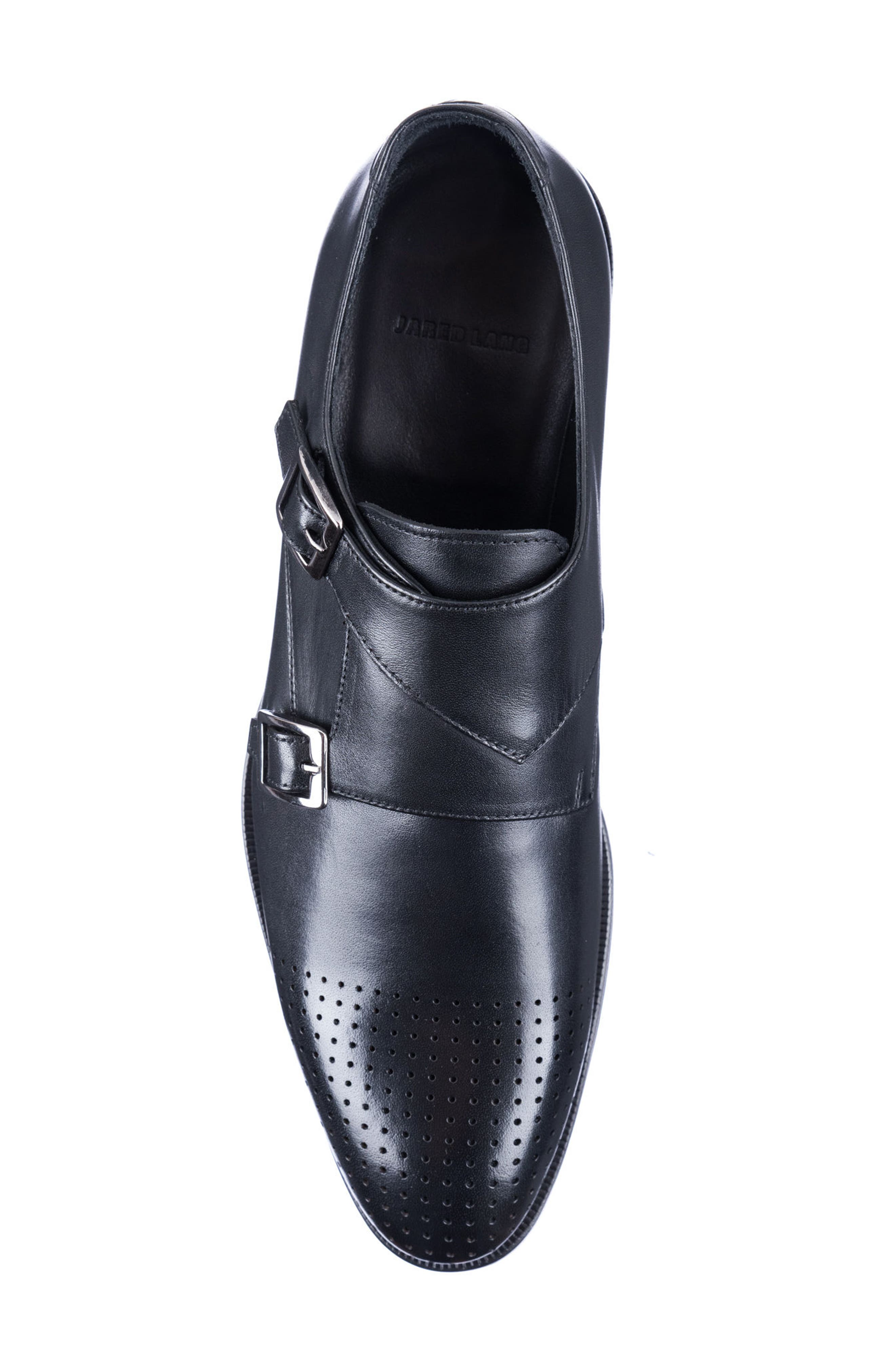 Double Buckle Monk Shoe,                             Alternate thumbnail 5, color,                             BLACK LEATHER