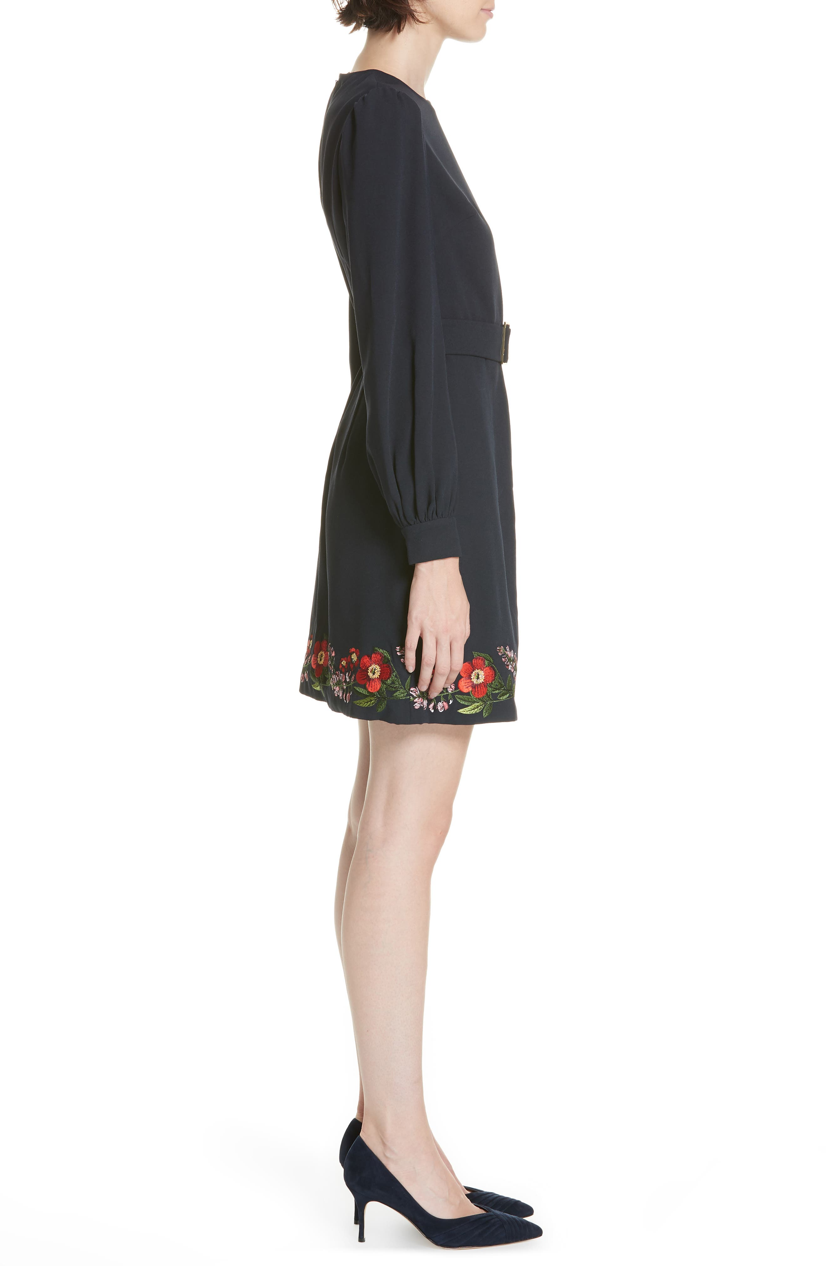 Silia Kirstenbosch Embroidered Dress,                             Alternate thumbnail 3, color,                             DARK BLUE