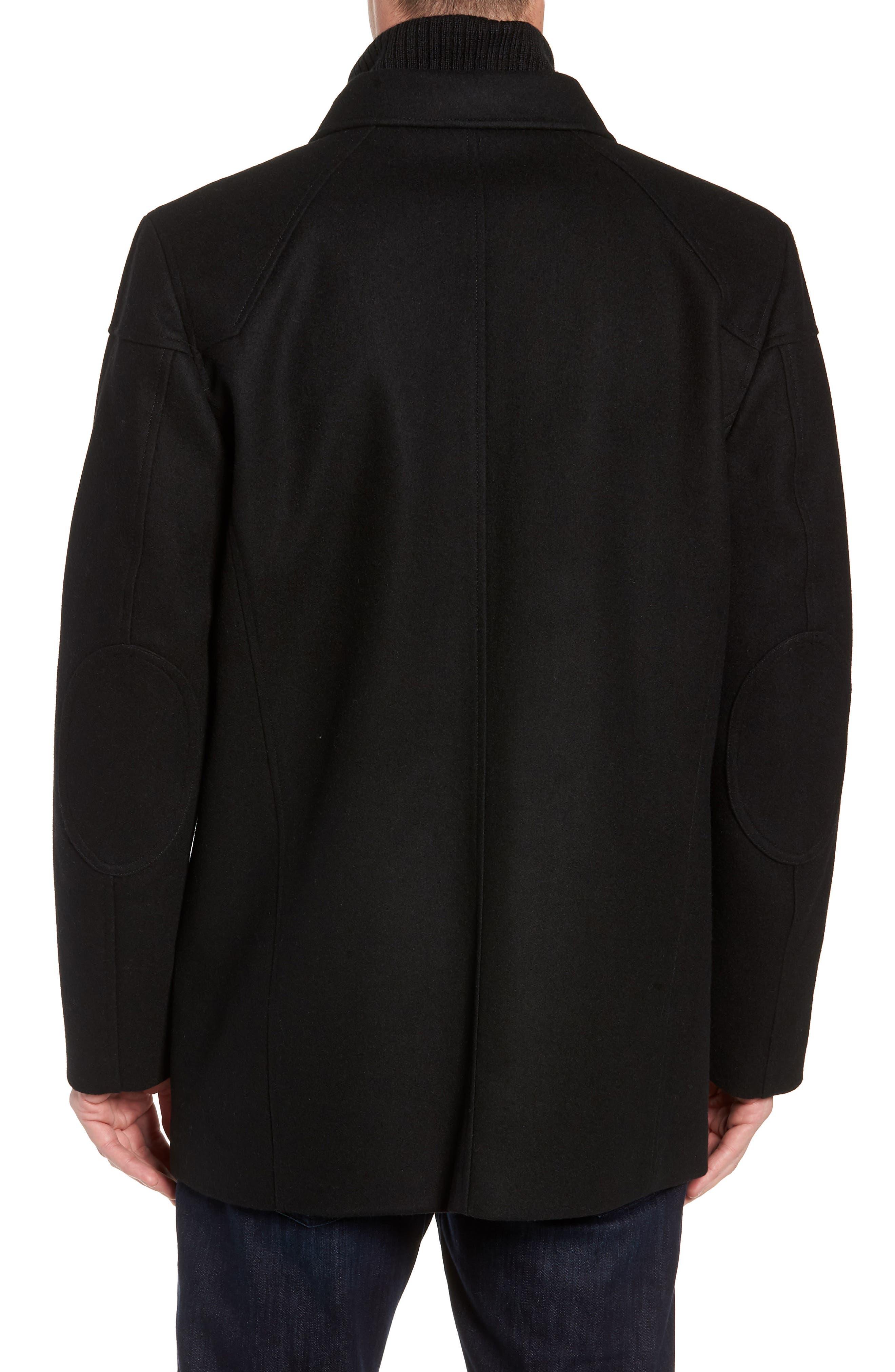 Melton Car Coat with Removable Bib,                             Alternate thumbnail 3, color,                             BLACK