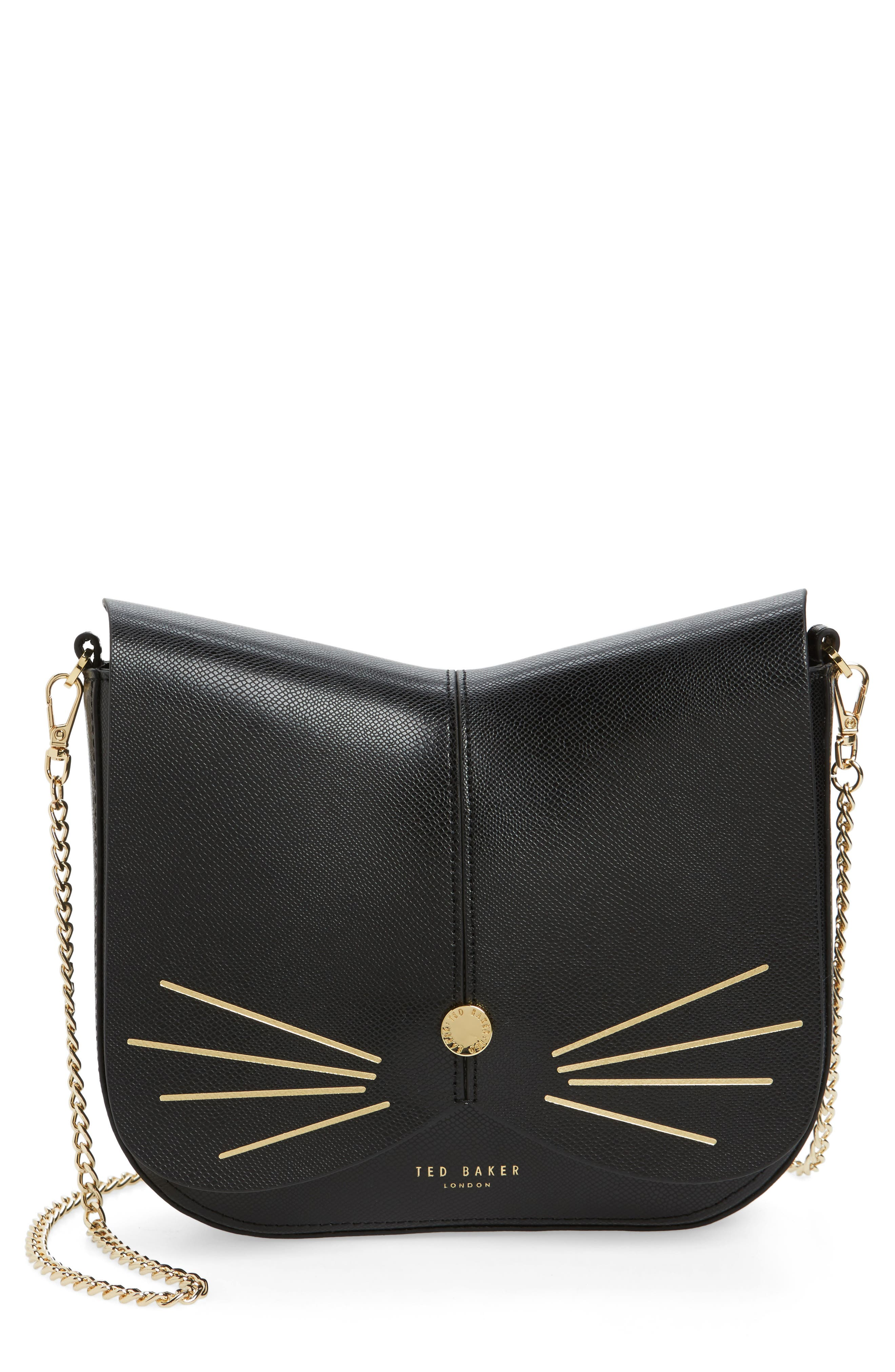 Cat Leather Crossbody Bag,                             Main thumbnail 1, color,                             001