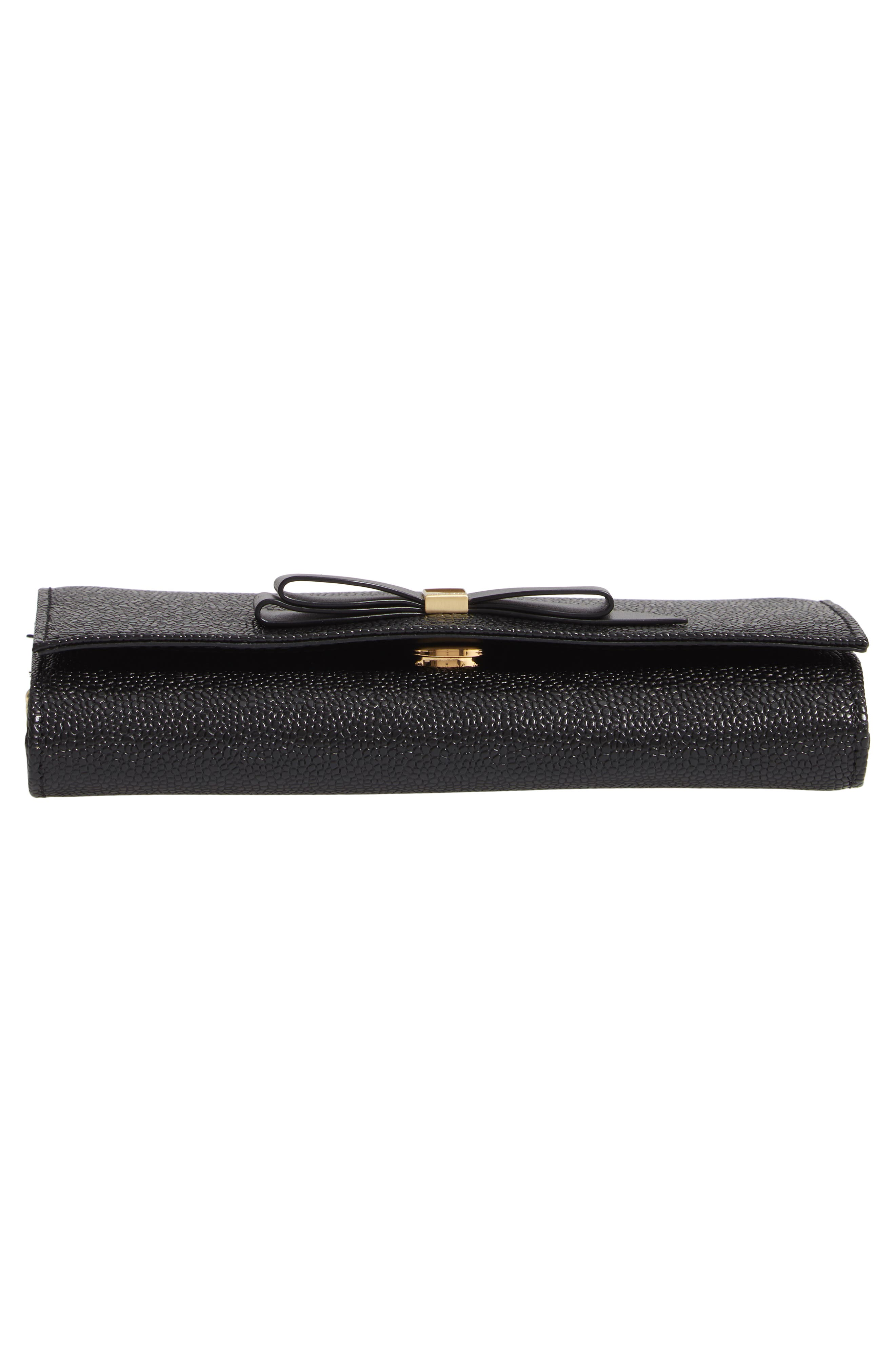 Alaine Crossbody Leather Matinée Wallet on a Chain,                             Alternate thumbnail 6, color,                             BLACK