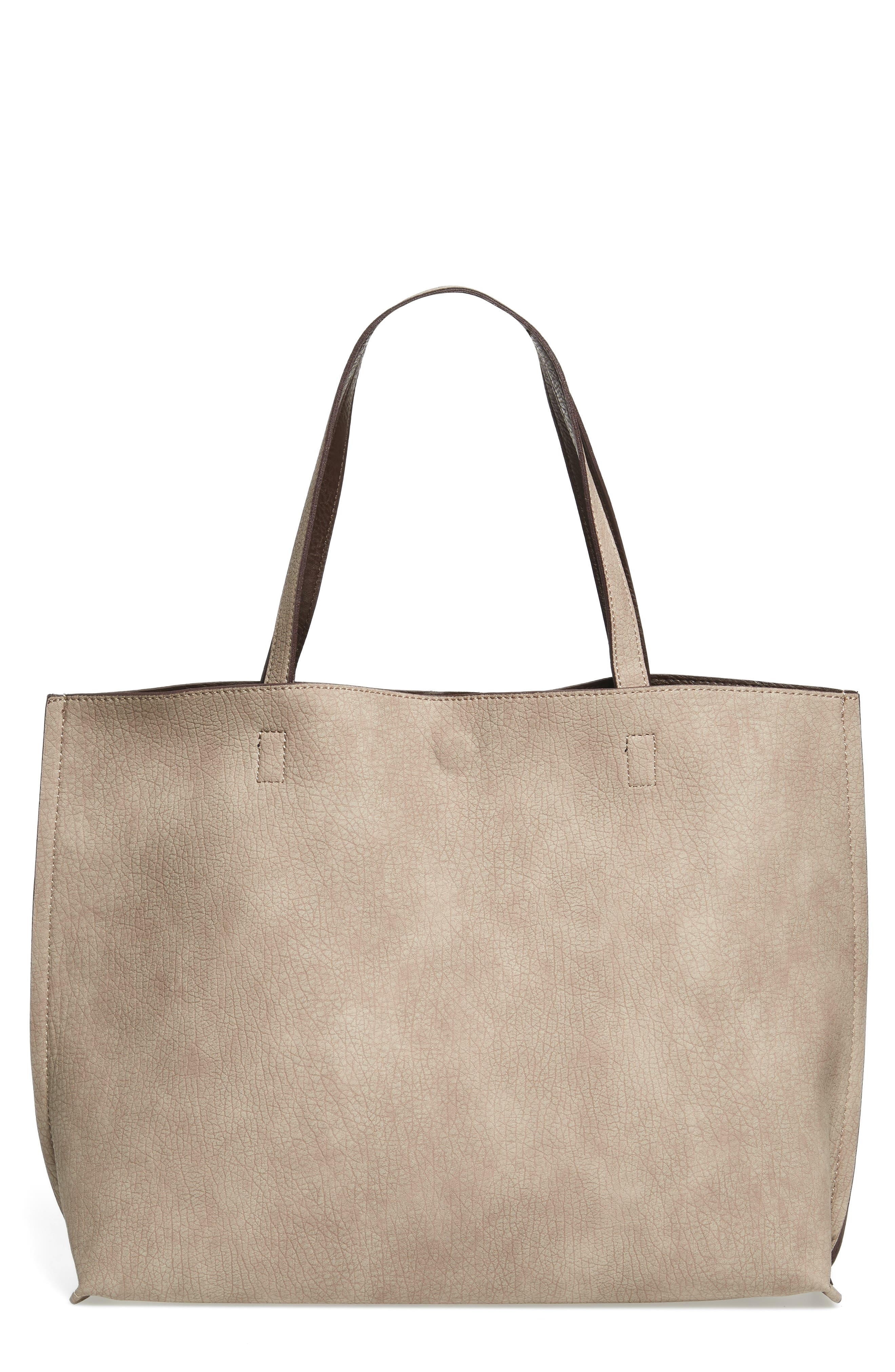 Reversible Faux Leather Tote,                             Main thumbnail 6, color,