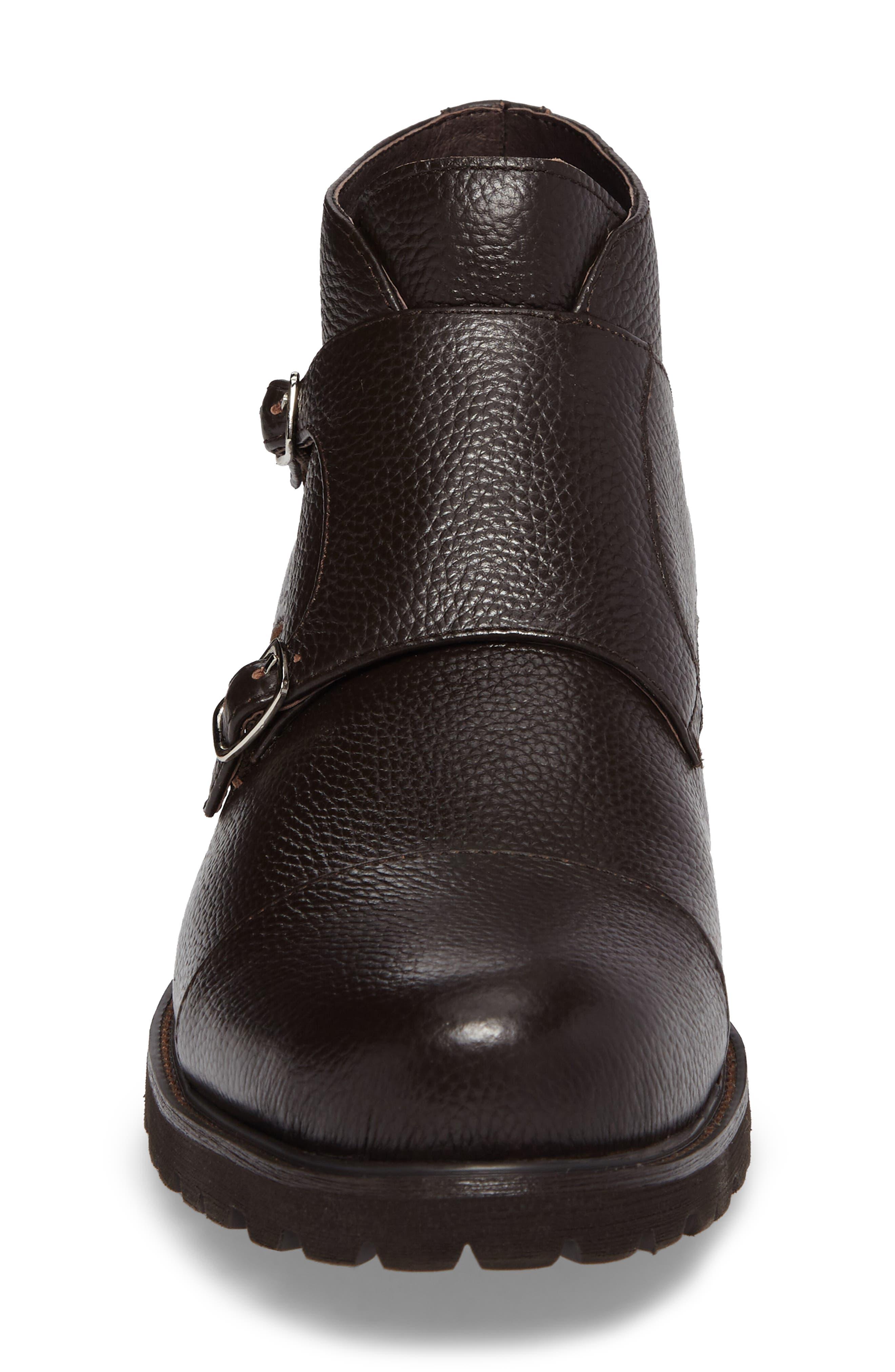 Koller Cap Toe Double Monk Boot,                             Alternate thumbnail 4, color,                             BLACK LEATHER